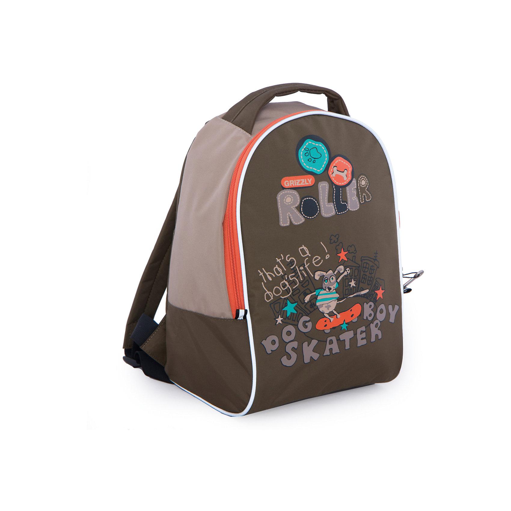 Grizzly Рюкзак детский, бежевыйДетские рюкзаки<br>Детский рюкзак, бежевый, Grizzly (Гризли) ? рюкзак отечественного бренда Гризли детской серии. Легкий и прочный, рюкзак учитывает все анатомические и возрастные особенности детей дошкольного возраста. Все рюкзаки детской серии ортопедические, с укрепленной спинкой и широкими регулируемыми под рост ребенка лямками, что защищает от развития искривления позвоночника.<br>Детский рюкзак (Гризли) изготовлен из таслана, отличительными свойствами которого является водонепрницаемость, способность сохранять форму, устойчивость к загрязнениям и повреждениям. За рюкзаком из таслана очень легко ухаживать: его можно стирать, он быстро высыхает, при частых стирках не теряет форму и цвет.<br>Детские рюкзаки Grizzly отличаются ярким дизайном, оригинальными цветовыми решениями как самого рюкзака, так и его аксессуаров и элементов: декоративные застежки-молнии, швы, выполненные цветными капроновыми нитками, обеспечивают качество и надежность эксплуатации.<br>Все рюкзаки детской серии многофункциональны и удобны: их можно брать с собой на прогулку, на спортивные и творческие занятия. Детям, которые готовятся к школе, рюкзак станет обязательным атрибутом подготовки к школьной жизни.<br>Детский рюкзак, бежевый, Grizzly (Гризли) состоит из одного вместительного отделения и внутреннего кармана. На передней стенке имеется объемный карман на молнии. Для обеспечения безопасности передвижения ребенка в темное время суток рюкзак с четырех сторон оснащен светоотражающими элементами. На передней стенке рюкзака имеется забавная сюжетная аппликация. Детский рюкзак, бежевый, Grizzly (Гризли) ? это качество материалов, безопасность, стиль и долговечность использования. <br><br><br>Дополнительная информация:<br><br>- Вес: 281 г<br>- Габариты (Д*Г*В): 25*13*33 см<br>- Цвет: бежевый, бирюзовый, серый, оранжевый<br>- Материал: таслан <br>- Сезон: круглый год<br>- Коллекция: детская <br>- Год коллекции: 2016 <br>- Пол: мальчики<br>- Предназначение: для про