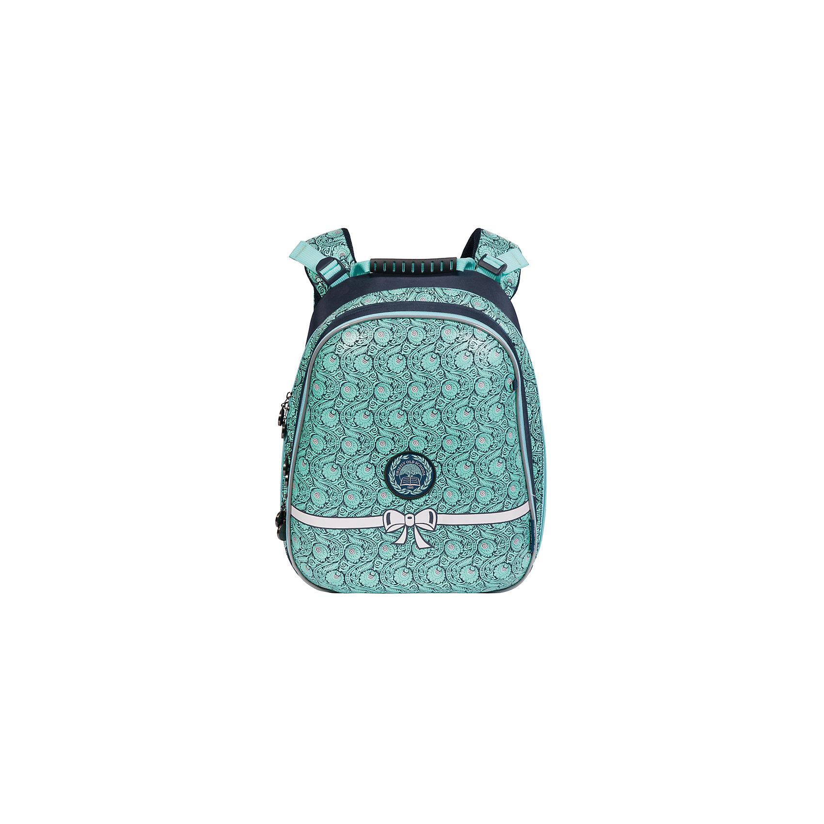 Grizzly Рюкзак школьный, синийРюкзаки<br>Рюкзак, синий, Grizzly (Гризли) ? рюкзак отечественного бренда Гризли молодежной серии. Рюкзак выполнен из нейлона высокого качества, что обеспечивает легкий вес, но при этом надежность и прочность. Все швы выполнены капроновыми нитками, что делает швы особенно крепкими и устойчивыми к износу даже в течение нескольких лет. <br>Внутреннее устройство рюкзака состоит из трех вместительных отсеков, составного пенала-органайзера и разделительной перегородки-органайзера. Удобство и эргономичность рюкзака обеспечивается жесткой анатомической спинкой и регулируемыми укрепленными лямками. Также имеется дополнительная ручка-петля. На рюкзаке с четырех сторон имеются светоотражающие нашивки-эмблемы. В комплекте идет брелок с застежкой на карабине. Данную модель рекомендуется приобретать, в первую очередь, школьникам, у которых имеются нарушения осанки и тем, кому приходится преодолевать долгий путь до школы. Уникальность рюкзаков Grizzly заключается в том, что анатомическая спинка изготовлена из специальной ткани, которая пропускает воздух, тем самым защищает спину от повышенного потоотделения. <br>Рюкзаки молодежной серии Grizzly (Гризли) ? это не только удобство и функциональность, это еще и оригинальный современный дизайн. Рюкзак, синий, Grizzly (Гризли) выполнен в классическом стиле: нежный цветочный принт, расположенный на передней стенке, повторяется на лямках.<br>Рюкзак, синий, Grizzly (Гризли) ? это качество материалов, удобство и долговечность использования. <br><br>Дополнительная информация:<br><br>- Вес: 1 кг 338 г<br>- Габариты (Д*Г*В): 29*23*39 см<br>- Цвет: черный, синий, голубой, бирюзовый<br>- Материал: нейлон <br>- Сезон: круглый год<br>- Коллекция: молодежная <br>- Год коллекции: 2016 <br>- Пол: женский<br>- Предназначение: для школы<br>- Особенности ухода: можно чистить влажной щеткой или губкой, допускается ручная стирка<br><br>Подробнее:<br><br>• Для школьников в возрасте: от 8 лет и до 12 лет<br>• Страна производит