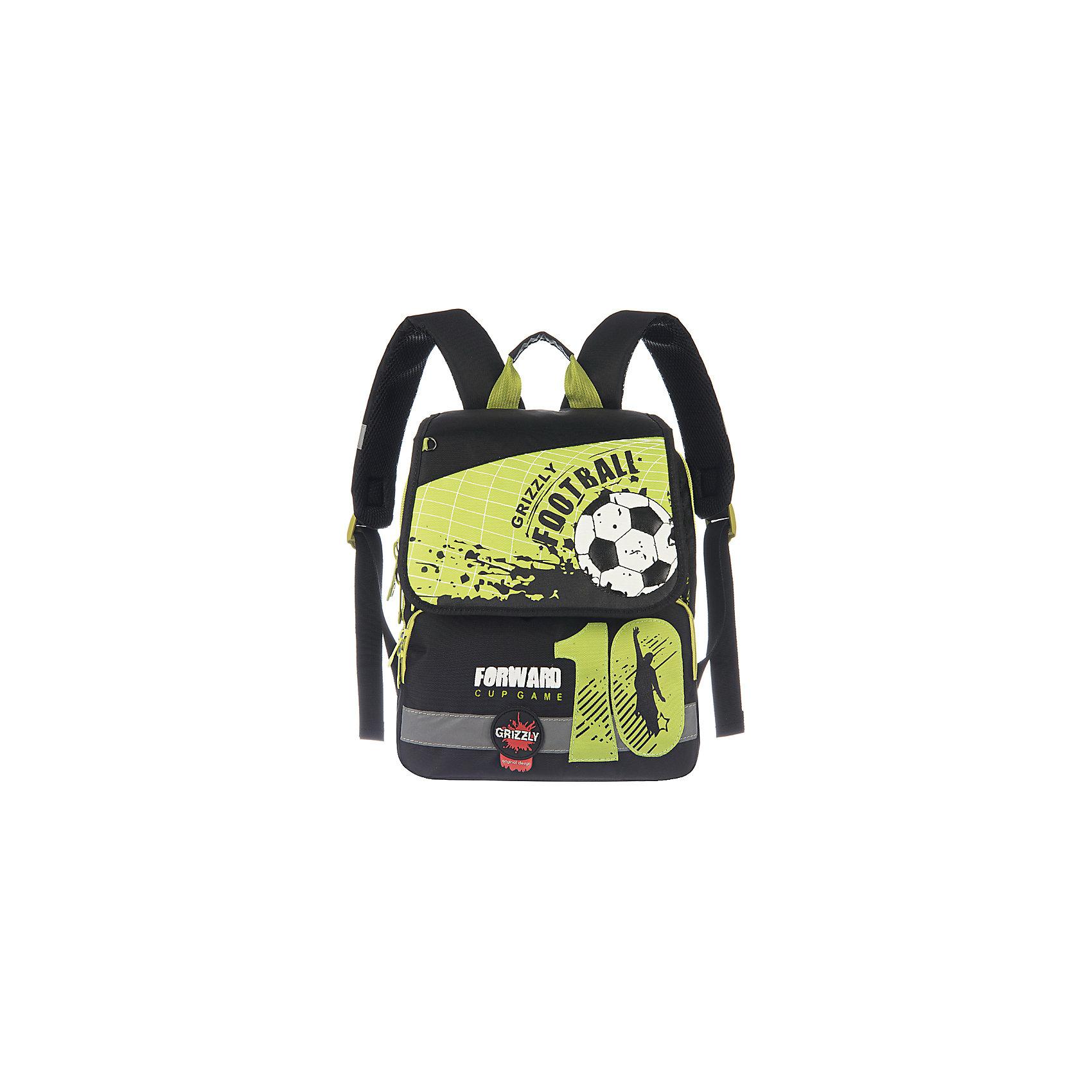 Школьный рюкзак, салатовыйШкольный рюкзак, салатовый, Grizzly (Гризли) ? рюкзак отечественного бренда Гризли школьной серии.  Рюкзак  выполнен из нейлона высокого качества, что обеспечивает, с одной стороны, легкий вес, а с другой ? надежность и прочность. Все швы выполнены капроновыми нитками, что делает швы особенно крепкими и устойчивыми к износу даже в течение нескольких лет. <br>Внутреннее устройство рюкзака состоит из двух вместительных отсеков и клапана на липучке. На передней стенке имеются два объемных кармана, застегивающихся на молнию. Удобство и эргономичность рюкзака создается за счет жесткой анатомической спинки, укрепленных лямок и мягкой укрепленной ручки. Также имеется дополнительная ручка-петля. С четырех сторон рюкзака имеются светоотражающие элементы. В комплекте с рюкзаком идет игрушка-брелок. Уникальность рюкзаков Grizzly заключается в том, что анатомическая спинка изготовлена из специальной ткани, которая пропускает воздух, тем самым защищает спину от повышенного потоотделения.<br>Все рюкзаки школьной серии Grizzly (Гризли) имеют оригинальный современный дизайн. Школьный рюкзак, салатовый, Grizzly (Гризли) выполнен в черном цвете с салатовыми элементами. Передний карман украшен большой яркой аппликацией.<br>Школьный рюкзак, салатовый, Grizzly (Гризли) ? это качество материалов, удобство, стиль и долговечность использования. <br><br>Дополнительная информация:<br><br>- Вес: 900 г<br>- Габариты (Д*Г*В): 29*18*35 см<br>- Цвет: черный, салатовый, белый<br>- Материал: нейлон <br>- Сезон: круглый год<br>- Коллекция: школьная <br>- Год коллекции: 2016 <br>- Пол: мужской<br>- Предназначение: для школы<br>- Особенности ухода: можно чистить влажной щеткой или губкой, допускается ручная стирка<br><br>Подробнее:<br><br>• Для школьников в возрасте: от 6 лет и до 10 лет<br>• Страна производитель: Китай<br>• Торговый бренд: Grizzly<br><br>Школьный рюкзак, бежевый, Grizzly (Гризли) можно купить в нашем интернет-магазине.<br><br>Ширина мм: 290<br>Глубина мм: 18