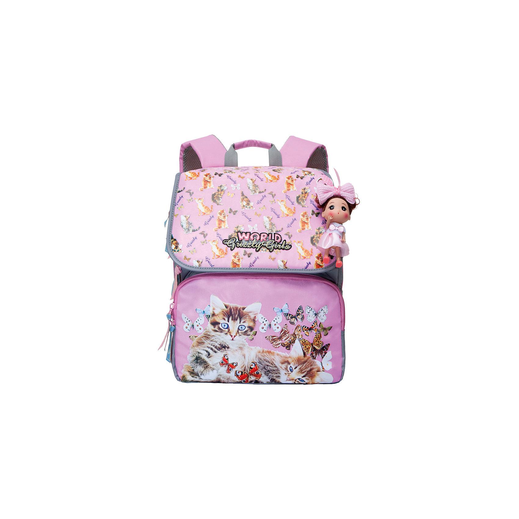 Grizzly Рюкзак школьный розовыйРюкзаки<br>Школьный рюкзак, розовый, Grizzly (Гризли) ? рюкзак отечественного бренда Гризли школьной серии.  Рюкзак  выполнен из нейлона высокого качества, что обеспечивает, с одной стороны, легкий вес, а с другой ? надежность и прочность. Все швы выполнены капроновыми нитками, что делает швы особенно крепкими и устойчивыми к износу даже в течение нескольких лет. <br>Внутреннее устройство рюкзака состоит из двух вместительных отсеков, внутреннего составного пенала-органайзера и клапана на липучке. На передней стенке имеются два объемных кармана, застегивающихся на молнию. Удобство и эргономичность рюкзака создается за счет жесткой анатомической спинки, укрепленных лямок и мягкой укрепленной ручки. Также имеется дополнительная ручка-петля. С четырех сторон рюкзака имеются светоотражающие элементы. В комплекте с рюкзаком идет игрушка-брелок. Уникальность рюкзаков Grizzly заключается в том, что анатомическая спинка изготовлена из специальной ткани, которая пропускает воздух, тем самым защищает спину от повышенного потоотделения.<br>Все рюкзаки школьной серии Grizzly (Гризли) имеют оригинальный современный дизайн. Школьный рюкзак, розовый, Grizzly (Гризли) выполнен в голубых оттенках с розовыми элементами. Передний карман украшен большой яркой цветочной аппликацией, на передних карманах имеются изображения бабочек разных размеров.<br>Школьный рюкзак, розовый, Grizzly (Гризли) ? это качество материалов, удобство, стиль и долговечность использования. <br><br>Дополнительная информация:<br><br>- Вес: 900 г<br>- Габариты (Д*Г*В): 29*18*35 см<br>- Цвет: розовый, голубой, белый<br>- Материал: нейлон <br>- Сезон: круглый год<br>- Коллекция: школьная <br>- Год коллекции: 2016 <br>- Пол: женский<br>- Предназначение: для школы<br>- Особенности ухода: можно чистить влажной щеткой или губкой, допускается ручная стирка<br><br>Подробнее:<br><br>• Для школьников в возрасте: от 6 лет и до 10 лет<br>• Страна производитель: Китай<br>• Торговый бренд: Grizzly