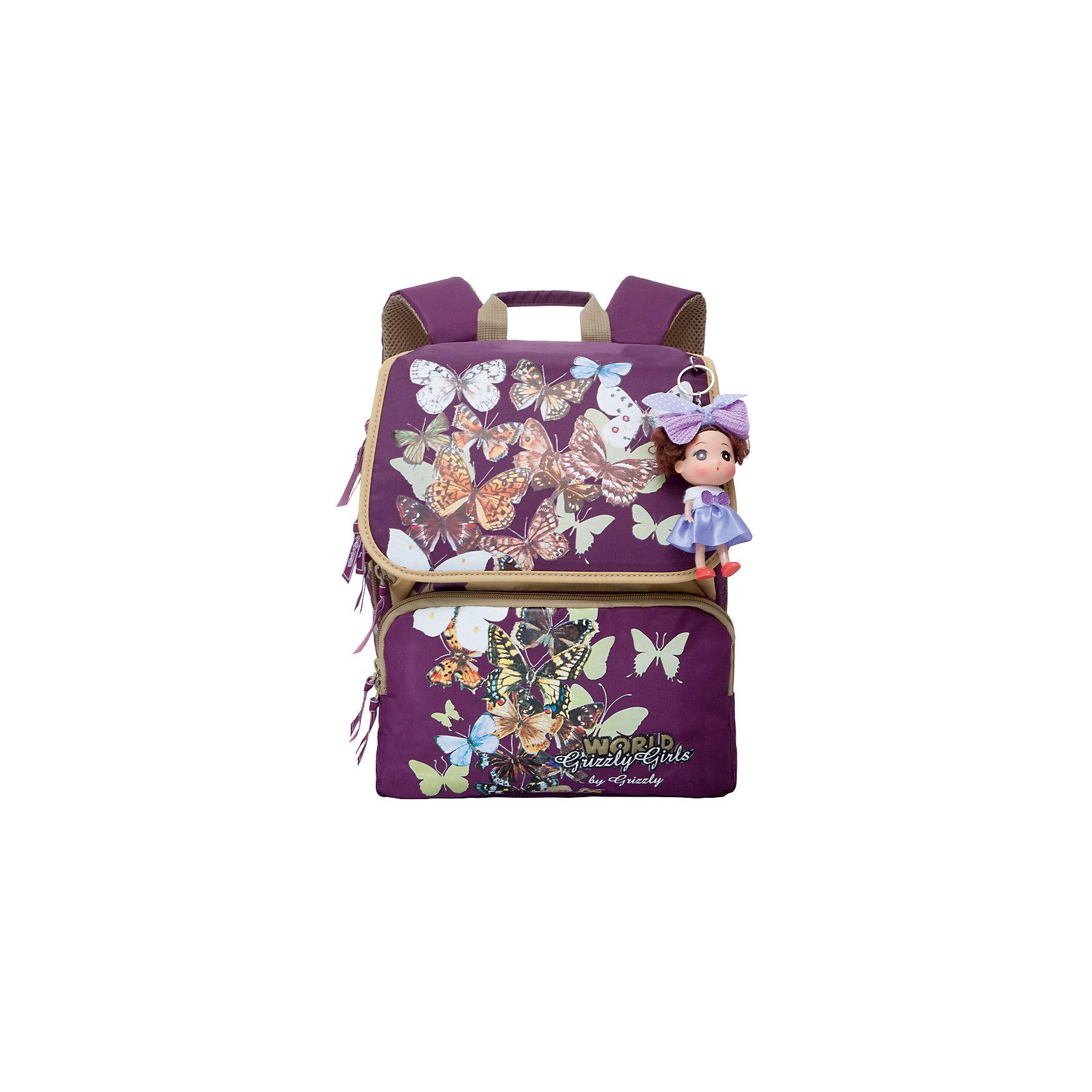 Школьный рюкзак, фиолетовыйШкольный рюкзак, фиолетовый, Grizzly (Гризли) ? рюкзак отечественного бренда Гризли школьной серии.  Рюкзак  выполнен из нейлона высокого качества, что обеспечивает, с одной стороны, легкий вес, а с другой ? надежность и прочность. Все швы выполнены капроновыми нитками, что делает швы особенно крепкими и устойчивыми к износу даже в течение нескольких лет. <br>Внутреннее устройство рюкзака состоит из двух вместительных отсеков, внутреннего составного пенала-органайзера и клапана на липучке. На передней стенке имеются два объемных кармана, застегивающихся на молнию. Удобство и эргономичность рюкзака создается за счет жесткой анатомической спинки, укрепленных лямок и мягкой укрепленной ручки. Также имеется дополнительная ручка-петля. С четырех сторон рюкзака имеются светоотражающие элементы. В комплекте с рюкзаком идет игрушка-брелок. Уникальность рюкзаков Grizzly заключается в том, что анатомическая спинка изготовлена из специальной ткани, которая пропускает воздух, тем самым защищает спину от повышенного потоотделения.<br>Все рюкзаки школьной серии Grizzly (Гризли) имеют оригинальный современный дизайн. Школьный рюкзак, фиолетовый, Grizzly (Гризли) выполнен в фиолетово-коричневых оттенках. Передние карманы украшены аппликациями из бабочек разной окраски и величины.<br>Школьный рюкзак, фиолетовый, Grizzly (Гризли) ? это качество материалов, удобство, стиль и долговечность использования. <br><br>Дополнительная информация:<br><br>- Вес: 900 г<br>- Габариты (Д*Г*В): 29*18*35 см<br>- Цвет: фиолетовый, коричневый, голубой, белый, желтый<br>- Материал: нейлон <br>- Сезон: круглый год<br>- Коллекция: школьная <br>- Год коллекции: 2016 <br>- Пол: женский<br>- Предназначение: для школы<br>- Особенности ухода: можно чистить влажной щеткой или губкой, допускается ручная стирка<br><br>Подробнее:<br><br>• Для школьников в возрасте: от 6 лет и до 10 лет<br>• Страна производитель: Китай<br>• Торговый бренд: Grizzly<br><br>Школьный рюкзак, фиолетовый, Grizz