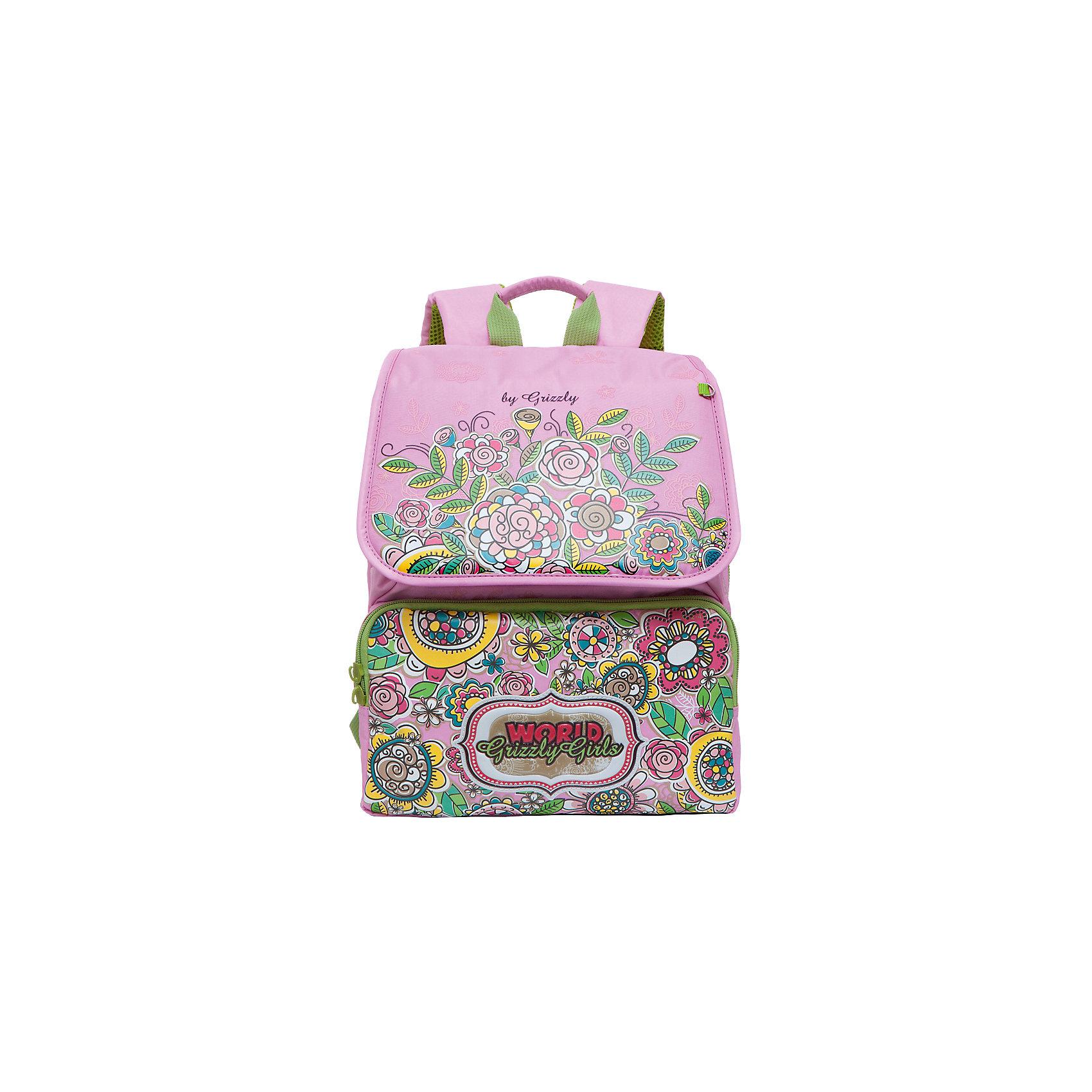 Grizzly Рюкзак школьный, розовыйРюкзаки<br>Школьный рюкзак, розовый, Grizzly (Гризли) ? рюкзак отечественного бренда Гризли школьной серии.  Рюкзак  выполнен из нейлона высокого качества, что обеспечивает, с одной стороны, легкий вес, а с другой ? надежность и прочность. Все швы выполнены капроновыми нитками, что делает швы особенно крепкими и устойчивыми к износу даже в течение нескольких лет. <br>Внутреннее устройство рюкзака состоит из двух вместительных отсеков, внутреннего составного пенала-органайзера и клапана на липучке. На передней стенке имеются два объемных кармана, застегивающихся на молнию. Удобство и эргономичность рюкзака создается за счет жесткой анатомической спинки, укрепленных лямок и мягкой укрепленной ручки. Также имеется дополнительная ручка-петля. С четырех сторон рюкзака имеются светоотражающие элементы и брелок-катафот (световозвращатель). В комплекте с рюкзаком идет игрушка-брелок. Уникальность рюкзаков Grizzly заключается в том, что анатомическая спинка изготовлена из специальной ткани, которая пропускает воздух, тем самым защищает спину от повышенного потоотделения.<br>Все рюкзаки школьной серии Grizzly (Гризли) имеют оригинальный современный дизайн. Школьный рюкзак, розовый, Grizzly (Гризли) выполнен в нежно-розовом цвете. Передние карманы украшены аппликациями из фантазийных цветов окраски и величины.<br>Школьный рюкзак, розовый, Grizzly (Гризли) ? это качество материалов, удобство, стиль и долговечность использования. <br><br>Дополнительная информация:<br><br>- Вес: 900 г<br>- Габариты (Д*Г*В): 29*18*35 см<br>- Цвет: розовый, зеленый, голубой, белый, желтый<br>- Материал: нейлон <br>- Сезон: круглый год<br>- Коллекция: школьная <br>- Год коллекции: 2016 <br>- Пол: женский<br>- Предназначение: для школы<br>- Особенности ухода: можно чистить влажной щеткой или губкой, допускается ручная стирка<br><br>Подробнее:<br><br>• Для школьников в возрасте: от 6 лет и до 10 лет<br>• Страна производитель: Китай<br>• Торговый бренд: Grizzly<br><br>Шк