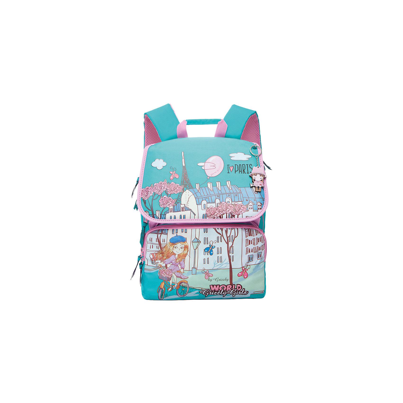 Рюкзак школьный Grizzly бирюзово-розовыйРюкзаки<br>Рюкзак, бирюзово-розовый, Grizzly (Гризли) ? рюкзак отечественного бренда Гризли молодежной серии. Рюкзак выполнен из нейлона высокого качества, что обеспечивает легкий вес, но при этом надежность и прочность. Все швы выполнены капроновыми нитками, что делает швы особенно крепкими и устойчивыми к износу даже в течение нескольких лет. <br>Внутреннее устройство рюкзака состоит из двух вместительных отсеков, составного пенала-органайзера и клапана на липучках. На передней стенке имеется два кармана на молнии. Удобство и эргономичность рюкзака обеспечивается жесткой анатомической спинкой и регулируемыми укрепленными лямками. Также имеется дополнительная ручка-петля. На рюкзаке с четырех сторон имеются светоотражающие нашивки-эмблемы. В комплекте идет брелок-куколка. Данную модель рекомендуется приобретать, в первую очередь, школьникам, у которых имеются нарушения осанки и тем, кому приходится преодолевать долгий путь до школы. Уникальность рюкзаков Grizzly заключается в том, что анатомическая спинка изготовлена из специальной ткани, которая пропускает воздух, тем самым защищает спину от повышенного потоотделения. <br>Рюкзаки молодежной серии Grizzly (Гризли) ? это не только удобство и функциональность, это еще и оригинальный современный дизайн. Рюкзак, бирюзово-розовый, Grizzly (Гризли) выполнен в оригинальном дизайнерском решении: изображение порхающей колибри над цветами:  на бирюзовом фоне.<br>Рюкзак, бирюзово-розовый, Grizzly (Гризли) ? это качество материалов, удобство и долговечность использования. <br><br>Дополнительная информация:<br><br>- Вес: 1 кг 100 г<br>- Габариты (Д*Г*В): 29*18*35 см<br>- Цвет: бирюзовый, розовый, фиолетовый<br>- Материал: нейлон <br>- Сезон: круглый год<br>- Коллекция: молодежная <br>- Год коллекции: 2016 <br>- Пол: женский<br>- Предназначение: для школы<br>- Особенности ухода: можно чистить влажной щеткой или губкой, допускается ручная стирка<br><br>Подробнее:<br><br>• Для школьников в в