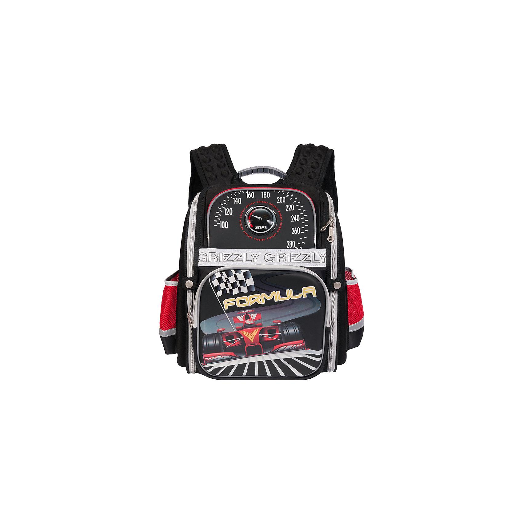 Школьный рюкзак, черныйШкольный рюкзак, черный, Grizzly (Гризли) ? рюкзак отечественного бренда Гризли школьной серии.  Рюкзак  выполнен из полиэстера и пластика высокого качества, что обеспечивает, с одной стороны, легкий вес, а с другой ? надежность и прочность. Все швы выполнены капроновыми нитками, что делает швы особенно крепкими и устойчивыми к износу даже в течение нескольких лет. <br>Внутреннее устройство рюкзака состоит из одного вместительного отсека, внутреннего кармана на молнии и внутреннего составного пенала-органайзера. На передней стенке имеются два объемных кармана, застегивающихся на молнию, по бокам – боковые карманы на застежке-молнии. Удобство и эргономичность рюкзака создается за счет жесткой анатомической спинки, укрепленных лямок и мягкой укрепленной ручки. Также имеется дополнительная ручка-петля. С четырех сторон рюкзака имеются светоотражающие элементы и нашивка с мигающими огнями. В комплекте с рюкзаком идет игрушка-брелок. Уникальность рюкзаков Grizzly заключается в том, что анатомическая спинка изготовлена из специальной ткани, которая пропускает воздух, тем самым защищает спину от повышенного потоотделения.<br>Все рюкзаки школьной серии Grizzly (Гризли) имеют оригинальный современный дизайн. Школьный рюкзак, черный, Grizzly (Гризли) выполнен в черном цвете с яркими разноцветными элементами. Передняя стенка украшена яркими рисунками спортивной тематики.<br>Школьный рюкзак, черный, Grizzly (Гризли) ? это качество материалов, удобство, стиль и долговечность использования. <br><br>Дополнительная информация:<br><br>- Вес: 800 г<br>- Габариты (Д*Г*В): 30*16*37 см<br>- Цвет: черный, красный, серый, желтый<br>- Материал: полиэстер, пластик <br>- Сезон: круглый год<br>- Коллекция: школьная <br>- Год коллекции: 2016 <br>- Пол: мужской<br>- Предназначение: для школы<br>- Особенности ухода: можно чистить влажной щеткой или губкой, допускается ручная стирка<br><br>Подробнее:<br><br>• Для школьников в возрасте: от 6 лет и до 10 лет<br>• Страна произ