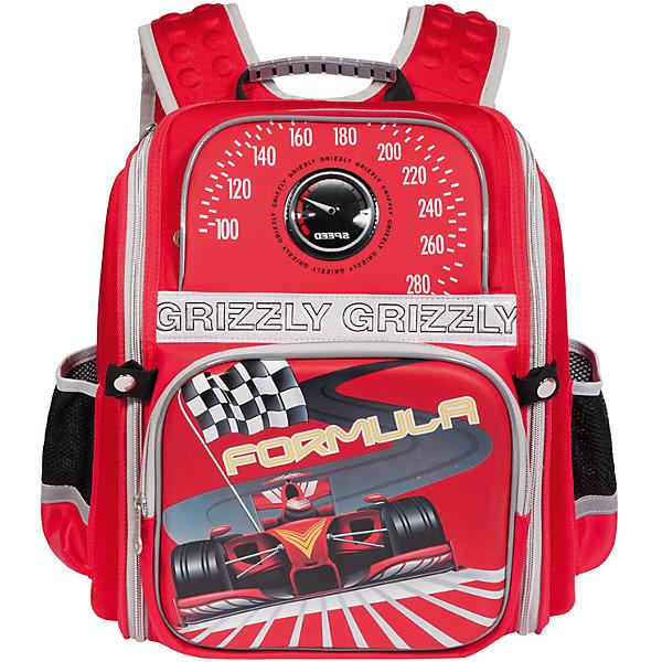 Рюкзак школьный Grizzly красныйРюкзаки<br>Школьный рюкзак, красный, Grizzly (Гризли) ? рюкзак отечественного бренда Гризли школьной серии.  Рюкзак  выполнен из полиэстера и пластика высокого качества, что обеспечивает, с одной стороны, легкий вес, а с другой ? надежность и прочность. Все швы выполнены капроновыми нитками, что делает швы особенно крепкими и устойчивыми к износу даже в течение нескольких лет. <br>Внутреннее устройство рюкзака состоит из одного вместительного отсека, внутреннего кармана на молнии и внутреннего кармана-пенала для канцелярских принадлежностей. На передней стенке имеются два объемных кармана, застегивающихся на молнию, по бокам – боковые карманы на застежке-молнии. Удобство и эргономичность рюкзака создается за счет жесткой анатомической спинки, укрепленных лямок и мягкой укрепленной ручки. Также имеется дополнительная ручка-петля. С четырех сторон рюкзака имеются светоотражающие элементы и нашивка с мигающими огнями. В комплекте с рюкзаком идет игрушка-брелок. Уникальность рюкзаков Grizzly заключается в том, что анатомическая спинка изготовлена из специальной ткани, которая пропускает воздух, тем самым защищает спину от повышенного потоотделения.<br>Все рюкзаки школьной серии Grizzly (Гризли) имеют оригинальный современный дизайн. Школьный рюкзак, красный, Grizzly (Гризли) выполнен в красном цвете с яркими разноцветными элементами. Передняя стенка украшена яркими рисунками спортивной тематики.<br>Школьный рюкзак, красный, Grizzly (Гризли) ? это качество материалов, удобство, стиль и долговечность использования. <br><br>Дополнительная информация:<br><br>- Вес: 800 г<br>- Габариты (Д*Г*В): 30*16*37 см<br>- Цвет: красный, черный, серый, желтый, серый<br>- Материал: полиэстер, пластик <br>- Сезон: круглый год<br>- Коллекция: школьная <br>- Год коллекции: 2016 <br>- Пол: мужской<br>- Предназначение: для школы<br>- Особенности ухода: можно чистить влажной щеткой или губкой, допускается ручная стирка<br><br>Подробнее:<br><br>• Для школьников в 