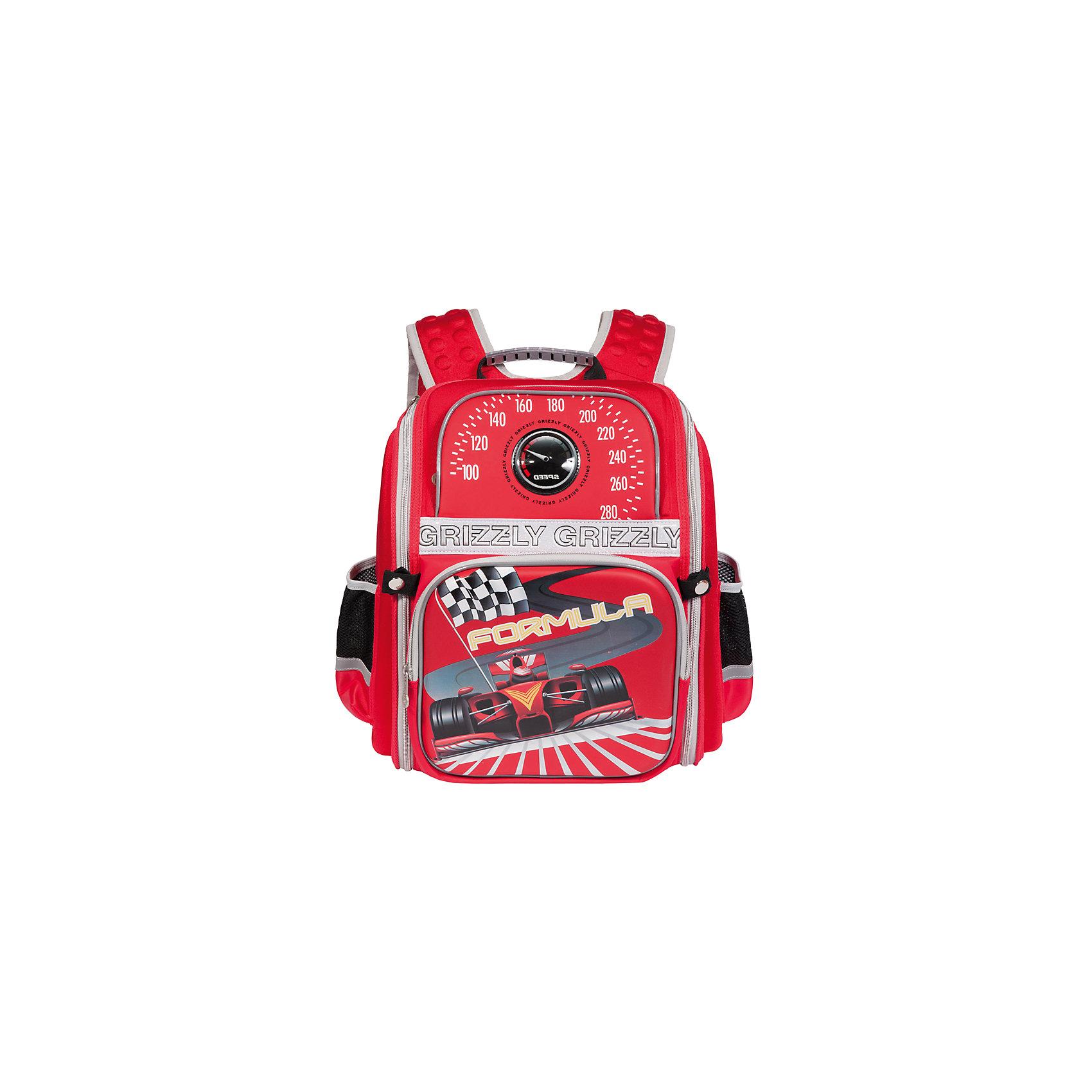Школьный рюкзак, красныйШкольный рюкзак, красный, Grizzly (Гризли) ? рюкзак отечественного бренда Гризли школьной серии.  Рюкзак  выполнен из полиэстера и пластика высокого качества, что обеспечивает, с одной стороны, легкий вес, а с другой ? надежность и прочность. Все швы выполнены капроновыми нитками, что делает швы особенно крепкими и устойчивыми к износу даже в течение нескольких лет. <br>Внутреннее устройство рюкзака состоит из одного вместительного отсека, внутреннего кармана на молнии и внутреннего кармана-пенала для канцелярских принадлежностей. На передней стенке имеются два объемных кармана, застегивающихся на молнию, по бокам – боковые карманы на застежке-молнии. Удобство и эргономичность рюкзака создается за счет жесткой анатомической спинки, укрепленных лямок и мягкой укрепленной ручки. Также имеется дополнительная ручка-петля. С четырех сторон рюкзака имеются светоотражающие элементы и нашивка с мигающими огнями. В комплекте с рюкзаком идет игрушка-брелок. Уникальность рюкзаков Grizzly заключается в том, что анатомическая спинка изготовлена из специальной ткани, которая пропускает воздух, тем самым защищает спину от повышенного потоотделения.<br>Все рюкзаки школьной серии Grizzly (Гризли) имеют оригинальный современный дизайн. Школьный рюкзак, красный, Grizzly (Гризли) выполнен в красном цвете с яркими разноцветными элементами. Передняя стенка украшена яркими рисунками спортивной тематики.<br>Школьный рюкзак, красный, Grizzly (Гризли) ? это качество материалов, удобство, стиль и долговечность использования. <br><br>Дополнительная информация:<br><br>- Вес: 800 г<br>- Габариты (Д*Г*В): 30*16*37 см<br>- Цвет: красный, черный, серый, желтый, серый<br>- Материал: полиэстер, пластик <br>- Сезон: круглый год<br>- Коллекция: школьная <br>- Год коллекции: 2016 <br>- Пол: мужской<br>- Предназначение: для школы<br>- Особенности ухода: можно чистить влажной щеткой или губкой, допускается ручная стирка<br><br>Подробнее:<br><br>• Для школьников в возрасте: от 6 лет