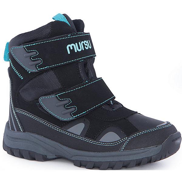 Ботинки для мальчика MursuОбувь<br>Ботинки для мальчика Mursu (Мурсу)<br><br>Характеристики:<br><br>• цвет: черный<br>• температурный режим до -25С<br>• материал верха: искусственная кожа, текстиль<br>• внутренний материал: шерсть, мембрана<br>• стелька: шерсть<br>• подошва: ТЭП<br>• две застежки-липучки<br>• сезон: зима<br><br>Ботинки Mursu (Мурсу) изготовлены из искусственной кожи и текстиля. Двойные швы гарантируют обуви долговечность и прочность. Ботинки имеют устойчивую подошву, уплотненный носок и задник и две застежки-липучки спереди. Мембрана не даст холодному воздуху проникнуть внутрь, а шерстяная подкладка и стелька подарят тепло и комфорт. Стильные ботиночки идеально подойдут для зимних прогулок!<br><br>Ботинки для мальчика Mursu (Мурсу) можно купить в нашем интернет-магазине.<br>Ширина мм: 262; Глубина мм: 176; Высота мм: 97; Вес г: 427; Цвет: черный; Возраст от месяцев: 108; Возраст до месяцев: 120; Пол: Мужской; Возраст: Детский; Размер: 33,37,35,36,34,32; SKU: 4861379;