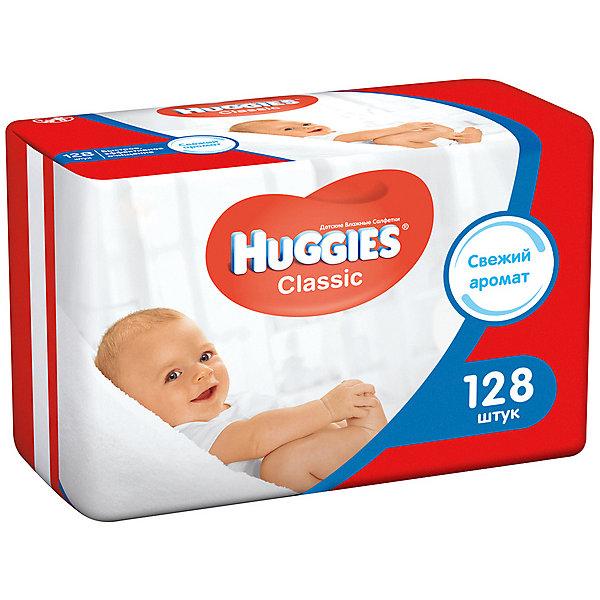 Детские влажные салфетки Huggies Classic двойные 64*2, 128шт.Влажные салфетки<br>Влажные салфетки Huggies Classic* обеспечат вашему ребенку сто процентную чистоту, свежесть и комфорт на каждый день. <br>Благодаря рельефной поверхности  салфетки Huggies бережно и эффективно очищают нежную кожу малыша и подходят для ежедневного применения. <br>- Салфетки созданы по уникальной технологии Три слоя чистоты - они состоят из трех плотных впитывающих слоев, содержат натуральные материалы и пропитаны очищенной водой.<br>-  Салфетки Три слоя чистоты обеспечат эффективное и бережное очищение нежной кожи ребенка.<br>- Нет парабенов.<br>- Не содержит спирт.<br>- Не содержит феноксетанола.<br>- Сбалансированная pH пропитка.<br><br>Дополнительная информация:<br><br>- Возраст: с рождения.<br>- Кол-во в упаковке: 64 шт.<br>- Двойные салфетки.<br>- Вес в упаковке: 766 г.<br><br>Купить детские влажные салфетки Huggies Classic двойные, можно в нашем магазине.<br><br>Ширина мм: 190<br>Глубина мм: 95<br>Высота мм: 108<br>Вес г: 766<br>Возраст от месяцев: 0<br>Возраст до месяцев: 36<br>Пол: Унисекс<br>Возраст: Детский<br>SKU: 4861809