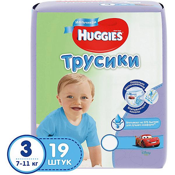 Трусики-подгузники Huggies 3 для мальчиков, 7-11кг, , 19 шт.Трусики-подгузники<br>Характеристики:<br><br>• трусики-подгузники для мальчиков;<br>• размер 3/М;<br>• вес ребенка: 7-11 кг;<br>• количество в упаковке: 19 шт.<br><br>Преимущества:<br><br>• трусики-подгузники впитывают на 50% быстрее для лучшего комфорта;<br>• уникально расположенные впитывающие каналы уменьшают набухание подгузника;<br>• впитывающий слой для мальчиков расположен ближе к животику;<br>• слой DryTouch впитывает за секунды и помогает запереть влагу внутри; <br>• материалы с микропорами позволяют коже дышать;<br>• мягкие, тянущиеся в разные стороны поясок и широкие боковинки;<br>• эластичные манжеты вокруг ножек для великолепного прилегания и комфорта в движении;<br>• 2 замечательных дизайна Дисней в каждой упаковке.<br><br>Трусики-подгузники Хаггис содержат материалы с видимыми воздухопроницаемыми микропорами в виде отверстий. Легко избавиться от использованных трусиков: расстегните, сверните, закрепите застежками на боковинах.<br><br>Трусики-подгузники Huggies 3/М, 7-11кг, 19 шт. можно купить в нашем интернет-магазине.<br>Ширина мм: 206; Глубина мм: 188; Высота мм: 124; Вес г: 590; Возраст от месяцев: 3; Возраст до месяцев: 12; Пол: Мужской; Возраст: Детский; SKU: 4861810;