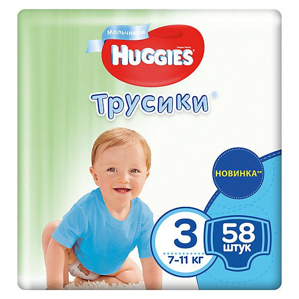 Трусики-подгузники Huggies 3 Mega Pack для мальчиков, 7-11кг, 58 шт.Трусики-подгузники<br>Характеристики:<br><br>• трусики-подгузники для мальчиков;<br>• размер 3/М;<br>• вес ребенка: 7-11 кг;<br>• количество в упаковке: 58 шт.<br><br>Преимущества:<br><br>• трусики-подгузники впитывают на 50% быстрее для лучшего комфорта;<br>• уникально расположенные впитывающие каналы уменьшают набухание подгузника;<br>• впитывающий слой для мальчиков расположен ближе к животику;<br>• слой DryTouch впитывает за секунды и помогает запереть влагу внутри; <br>• материалы с микропорами позволяют коже дышать;<br>• мягкие, тянущиеся в разные стороны поясок и широкие боковинки;<br>• эластичные манжеты вокруг ножек для великолепного прилегания и комфорта в движении;<br>• 2 замечательных дизайна Дисней в каждой упаковке.<br><br>Трусики-подгузники Хаггис содержат материалы с видимыми воздухопроницаемыми микропорами в виде отверстий. Легко избавиться от использованных трусиков: расстегните, сверните, закрепите застежками на боковинах.<br><br>Трусики-подгузники Huggies 3/М, 7-11кг, 58 шт. можно купить в нашем интернет-магазине.<br>Ширина мм: 410; Глубина мм: 268; Высота мм: 124; Вес г: 1790; Возраст от месяцев: 3; Возраст до месяцев: 12; Пол: Мужской; Возраст: Детский; SKU: 4861812;