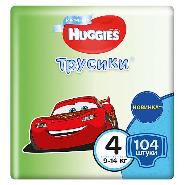 Трусики-подгузники Huggies 4 Disney Box для мальчиков, 9-14 кг, 52*2, 104 шт.Трусики-подгузники<br>Характеристики:<br><br>• трусики-подгузники для мальчиков;<br>• размер 4/L;<br>• вес ребенка: 9-14 кг;<br>• количество в упаковке: 104 шт.<br><br>Преимущества:<br><br>• трусики-подгузники впитывают на 50% быстрее для лучшего комфорта;<br>• уникально расположенные впитывающие каналы уменьшают набухание подгузника;<br>• впитывающий слой для мальчиков расположен ближе к животику;<br>• слой DryTouch впитывает за секунды и помогает запереть влагу внутри; <br>• материалы с микропорами позволяют коже дышать;<br>• мягкие, тянущиеся в разные стороны поясок и широкие боковинки;<br>• эластичные манжеты вокруг ножек для великолепного прилегания и комфорта в движении;<br>• 2 замечательных дизайна Дисней в каждой упаковке.<br><br>Трусики-подгузники Хаггис содержат материалы с видимыми воздухопроницаемыми микропорами в виде отверстий. Легко избавиться от использованных трусиков: расстегните, сверните, закрепите застежками на боковинах.<br><br>Трусики-подгузники Huggies 4/L, 9-14 кг, 104 шт. можно купить в нашем интернет-магазине.<br>Ширина мм: 454; Глубина мм: 238; Высота мм: 266; Вес г: 3900; Возраст от месяцев: 6; Возраст до месяцев: 24; Пол: Мужской; Возраст: Детский; SKU: 4861814;