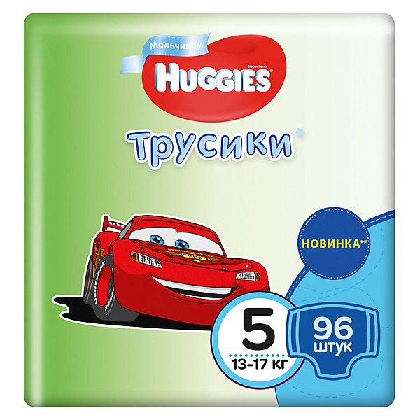 Трусики-подгузники Huggies 5 для мальчиков, 13-17 кг, Disney Box, 48*2, 96 шт.Трусики-подгузники<br>Характеристики:<br><br>• трусики-подгузники для мальчиков;<br>• размер 5/XL;<br>• вес ребенка: 13-17 кг;<br>• количество в упаковке: 96 шт.<br><br>Преимущества:<br><br>• трусики-подгузники впитывают на 50% быстрее для лучшего комфорта;<br>• уникально расположенные впитывающие каналы уменьшают набухание подгузника;<br>• впитывающий слой для мальчиков расположен ближе к животику;<br>• слой DryTouch впитывает за секунды и помогает запереть влагу внутри; <br>• материалы с микропорами позволяют коже дышать;<br>• мягкие, тянущиеся в разные стороны поясок и широкие боковинки;<br>• эластичные манжеты вокруг ножек для великолепного прилегания и комфорта в движении;<br>• 2 замечательных дизайна Дисней в каждой упаковке.<br><br>Трусики-подгузники Хаггис содержат материалы с видимыми воздухопроницаемыми микропорами в виде отверстий. Легко избавиться от использованных трусиков: расстегните, сверните, закрепите застежками на боковинах.<br><br>Трусики-подгузники Huggies 5/XL, 13-17 кг, 96 шт. можно купить в нашем интернет-магазине.<br>Ширина мм: 490; Глубина мм: 238; Высота мм: 266; Вес г: 3900; Возраст от месяцев: 12; Возраст до месяцев: 3; Пол: Мужской; Возраст: Детский; SKU: 4861818;