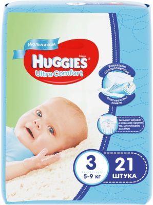 HUGGIES Подгузники Huggies Ultra Comfort 3 для мальчиков, 5-9 кг, 21шт.