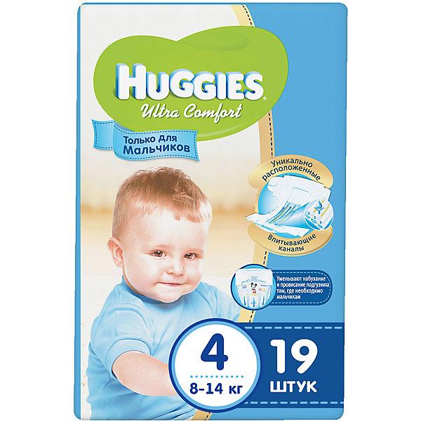 Подгузники Huggies Ultra Comfort 4 для мальчиков, 8-14 кг, 19шт.Подгузники классические<br>Подгузники  Ultra Comfort Huggies созданы специально для мальчишек! <br>Для более быстрого впитывания распределяющий слой в этих подгузниках расположен там, где это нужнее всего. Так же, подгузники изготовлены из специальных мягких материалов с микропорами, которые позволяют коже «дышать». А тянущиеся застежки с закругленными краями надежно фиксируют подгузник, широкий эластичный пояс позволяет малышам  свободно двигаться.<br><br>А яркий дизайн будет постоянно радовать маленького модника!<br><br>Дополнительна информация:<br><br>- Возраст: с 6 месяцев.<br>- Вес ребенка: от 8 до 14 кг.<br>- Кол-во в упаковке: 19 шт.<br>- Вес в упаковке: 627 г.<br><br>Купить подгузники Ultra Comfort для мальчиков 4 от Huggies, можно в нашем магазине.<br><br>Ширина мм: 220<br>Глубина мм: 130<br>Высота мм: 110<br>Вес г: 627<br>Возраст от месяцев: 6<br>Возраст до месяцев: 24<br>Пол: Мужской<br>Возраст: Детский<br>SKU: 4861822