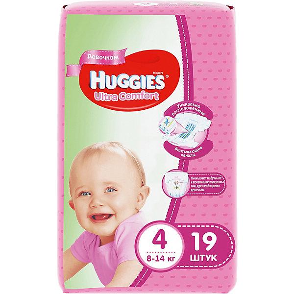 Подгузники Huggies Ultra Comfort 4  для девочек, 8-14 кг, 19шт.Подгузники 6-10 кг<br>Подгузники Ultra Comfort Huggies созданы специально для девочек! <br>Для более быстрого впитывания распределяющий слой в этих подгузниках расположен там, где это нужнее всего. Так же, подгузники изготовлены из специальных мягких материалов с микропорами, которые позволяют коже «дышать». А тянущиеся застежки с закругленными краями надежно фиксируют подгузник, широкий эластичный пояс позволяет малышам  свободно двигаться.<br><br>А яркий дизайн будет постоянно радовать маленькую модницу!<br><br>Дополнительна информация:<br><br>- Возраст: с 6 месяцев.<br>- Вес ребенка: от 8 до 14 кг.<br>- Кол-во в упаковке: 19 шт.<br>- Вес в упаковке: 627 г.<br><br>Купить подгузники Ultra Comfort для девочек 4 от Huggies, можно в нашем магазине.<br>Ширина мм: 220; Глубина мм: 130; Высота мм: 110; Вес г: 627; Возраст от месяцев: 6; Возраст до месяцев: 24; Пол: Женский; Возраст: Детский; SKU: 4861823;