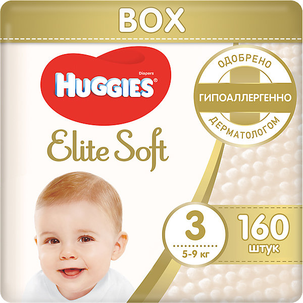 Подгузники Huggies Elite Soft 3, 5-9 кг, 160 шт.Подгузники классические<br>Новаторская разработка Huggies –  это супер-мягкий слой подгузников Текстор с  подушечками, который обеспечивают невероятную мягкость и создают специальную нежную преграду между кожей ребенка и жидким стулом. <br><br>Свойства:<br>- Мягкий суперэластичный пояс для лучшего прилегания.<br>- Застежки легко застегиваются и расстегиваются в любом месте подгузника.<br>- Содержит натуральный 100%-ный хлопок.<br>- Пористые материалы позволяют коже дышать.<br>-  Внутренний кармашек помогает предотвратить протекание.<br>- Новый супер мягкий слой SoftAbsorb впитывает жидкий стул и влагу за секунды, помогая сохранить кожу сухой.<br>- Новые мягкие подушечки создают нежную преграду  между кожей малыша и жидким стулом.<br>- Индикатор влаги меняет цвет, когда подгузник намокает.<br><br>Дополнительная информация:<br><br>- Возраст: с рождения.<br>- Вес ребенка: от 5 до 9 кг.<br>- Кол-во в упаковке: 160 шт.<br>- Вес в упаковке: 5448 г.<br><br>Купить подгузники  Elite Soft 3 от Huggies можно в нашем магазине.<br><br>Ширина мм: 424<br>Глубина мм: 300<br>Высота мм: 246<br>Вес г: 5448<br>Возраст от месяцев: 0<br>Возраст до месяцев: 9<br>Пол: Унисекс<br>Возраст: Детский<br>SKU: 4861834