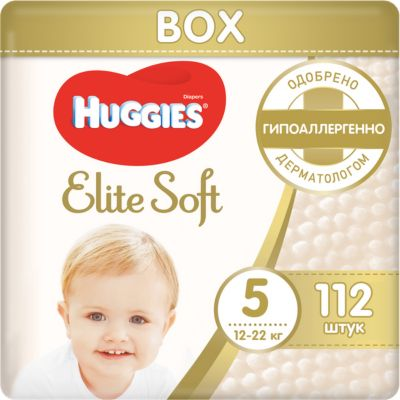 HUGGIES Подгузники Huggies Elite Soft 5, 12-22 кг, 112 шт.