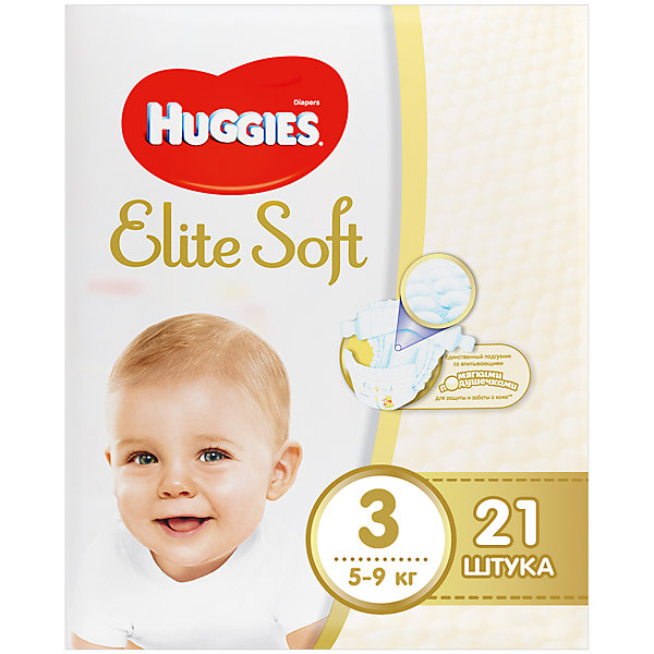 Подгузники Huggies Elite Soft 3, 5-9 кг, 21 шт.Подгузники классические<br>Новаторская разработка Huggies –  это супер-мягкий слой подгузников Текстор с  подушечками, который обеспечивают невероятную мягкость и создают специальную нежную преграду между кожей ребенка и жидким стулом. <br><br>Свойства:<br>- Мягкий суперэластичный пояс для лучшего прилегания.<br>- Застежки легко застегиваются и расстегиваются в любом месте подгузника.<br>- Содержит натуральный 100%-ный хлопок.<br>- Пористые материалы позволяют коже дышать.<br>-  Внутренний кармашек помогает предотвратить протекание.<br>- Новый супер мягкий слой SoftAbsorb впитывает жидкий стул и влагу за секунды, помогая сохранить кожу сухой.<br>- Новые мягкие подушечки создают нежную преграду  между кожей малыша и жидким стулом.<br>- Индикатор влаги меняет цвет, когда подгузник намокает.<br><br>Дополнительная информация:<br><br>- Возраст: с рождения.<br>- Вес ребенка: от 5 до 9 кг.<br>- Кол-во в упаковке: 21 шт.<br>- Вес в упаковке: 654 г.<br><br>Купить подгузники  Elite Soft 3 от Huggies можно в нашем магазине.<br><br>Ширина мм: 208<br>Глубина мм: 175<br>Высота мм: 105<br>Вес г: 654<br>Возраст от месяцев: 0<br>Возраст до месяцев: 9<br>Пол: Унисекс<br>Возраст: Детский<br>SKU: 4861839