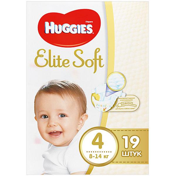 Подгузники Huggies Elite Soft 4, 8-14 кг, 19 шт.Подгузники 6-10 кг<br>Новаторская разработка Huggies –  это супер-мягкий слой подгузников Текстор с  подушечками, который обеспечивают невероятную мягкость и создают специальную нежную преграду между кожей ребенка и жидким стулом. <br><br>Свойства:<br>- Мягкий суперэластичный пояс для лучшего прилегания.<br>- Застежки легко застегиваются и расстегиваются в любом месте подгузника.<br>- Содержит натуральный 100%-ный хлопок.<br>- Пористые материалы позволяют коже дышать.<br>-  Внутренний кармашек помогает предотвратить протекание.<br>- Новый супер мягкий слой SoftAbsorb впитывает жидкий стул и влагу за секунды, помогая сохранить кожу сухой.<br>- Новые мягкие подушечки создают нежную преграду  между кожей малыша и жидким стулом.<br>- Индикатор влаги меняет цвет, когда подгузник намокает.<br><br>Дополнительная информация:<br><br>- Возраст: с 6 месяцев.<br>- Вес ребенка: от 8 до 14 кг.<br>- Кол-во в упаковке: 19 шт.<br>- Вес в упаковке: 676 г.<br><br>Купить подгузники  Elite Soft 4 от Huggies можно в нашем магазине.<br><br>Ширина мм: 220<br>Глубина мм: 130<br>Высота мм: 110<br>Вес г: 676<br>Возраст от месяцев: 6<br>Возраст до месяцев: 24<br>Пол: Унисекс<br>Возраст: Детский<br>SKU: 4861840