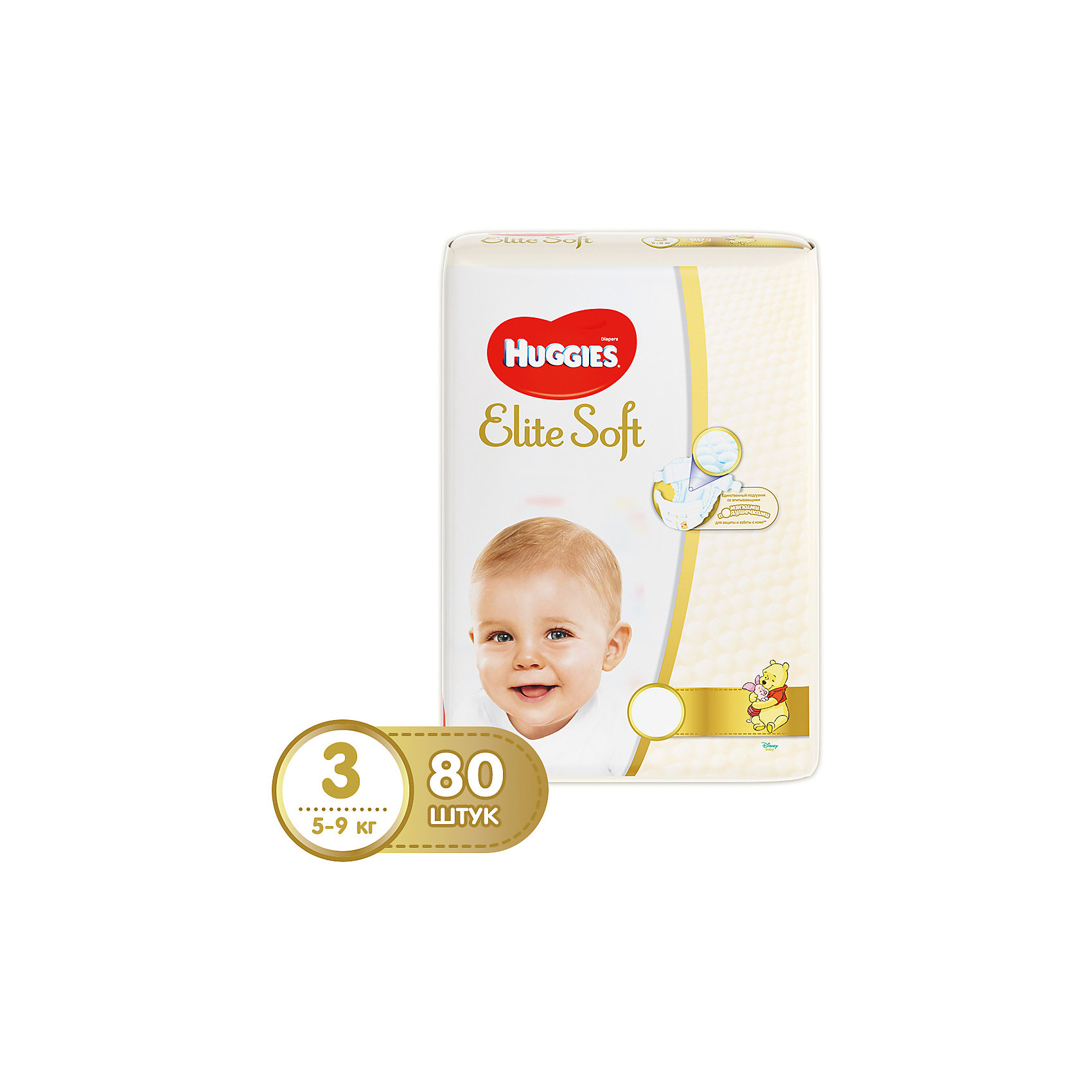 HUGGIES Подгузники Elite Soft 3, 5-9 кг, 80 шт., Huggies greenty подгузники greenty 5 13 кг 32 шт