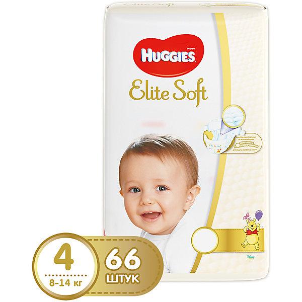 Подгузники Huggies Elite Soft 4, 8-14 кг, 66 шт.Подгузники классические<br>Новаторская разработка Huggies –  это супер-мягкий слой подгузников Текстор с  подушечками, который обеспечивают невероятную мягкость и создают специальную нежную преграду между кожей ребенка и жидким стулом. <br><br>Свойства:<br>- Мягкий суперэластичный пояс для лучшего прилегания.<br>- Застежки легко застегиваются и расстегиваются в любом месте подгузника.<br>- Содержит натуральный 100%-ный хлопок.<br>- Пористые материалы позволяют коже дышать.<br>-  Внутренний кармашек помогает предотвратить протекание.<br>- Новый супер мягкий слой SoftAbsorb впитывает жидкий стул и влагу за секунды, помогая сохранить кожу сухой.<br>- Новые мягкие подушечки создают нежную преграду  между кожей малыша и жидким стулом.<br>- Индикатор влаги меняет цвет, когда подгузник намокает.<br><br>Дополнительная информация:<br><br>- Возраст: с 6 месяцев.<br>- Вес ребенка: от 8 до 14 кг.<br>- Кол-во в упаковке: 66 шт.<br>- Вес в упаковке: 2332 г.<br><br>Купить подгузники  Elite Soft 4 от Huggies можно в нашем магазине.<br>Ширина мм: 430; Глубина мм: 240; Высота мм: 110; Вес г: 2332; Возраст от месяцев: 6; Возраст до месяцев: 24; Пол: Унисекс; Возраст: Детский; SKU: 4861842;