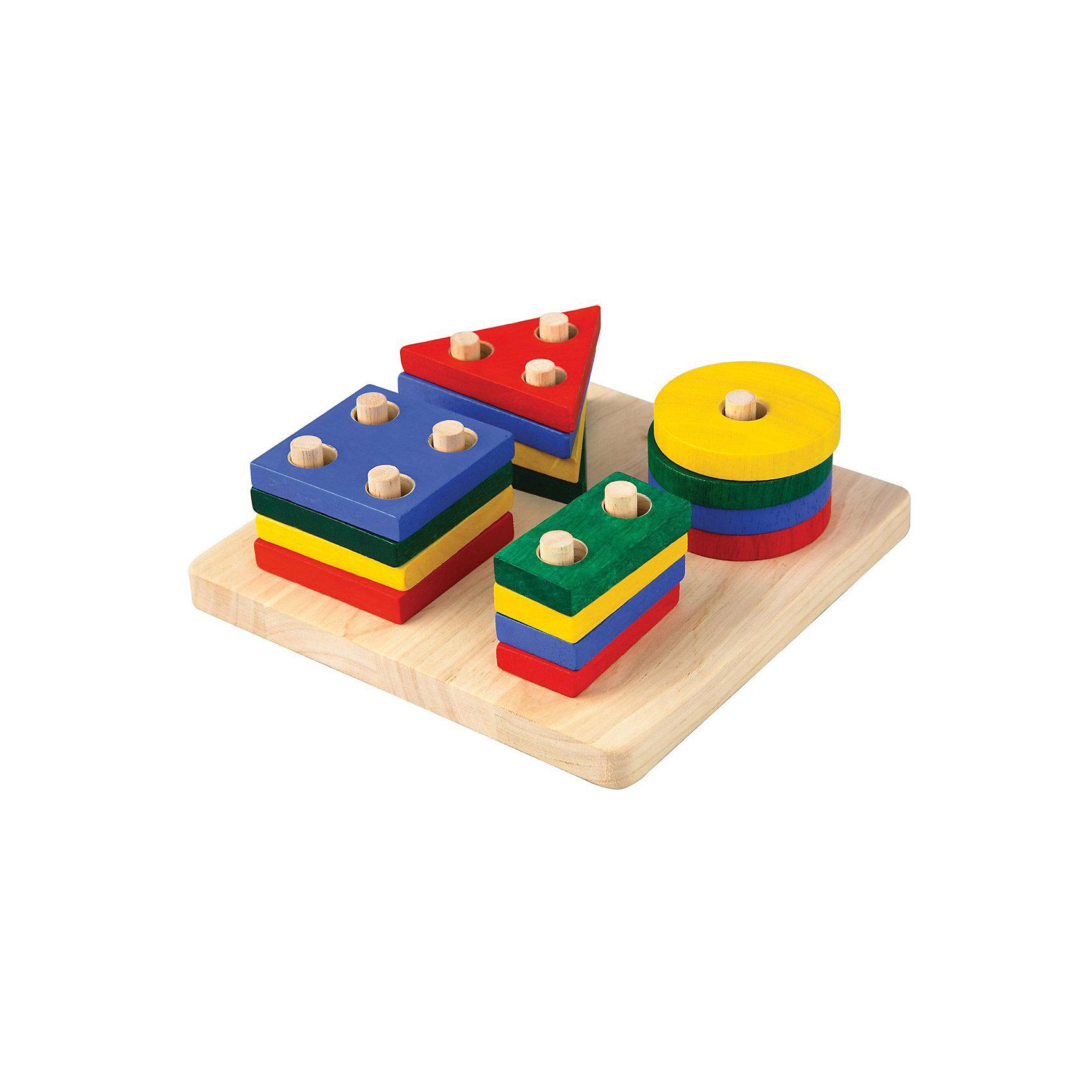 Сортер Доска с геометрическими фигурами, Plan ToysСортеры<br>Деревянный сортер от Plan Toys - это увлекательная игра для Вашего малыша, которая будет развивать полезные навыки. В комплект входит деревянная доска с 10 колышками и 16 разноцветных деталей. <br>Задача игры – разложить все фигурки на доске, ориентируясь на количество отверстий в деталях.<br>Игрушка изготовлена из натурального каучукового дерева с использованием нетоксичных красок.<br><br>Дополнительная информация:<br><br>-Материал: дерево<br>-Вес: 0.75 кг<br>-Размер упаковки: 18.8 x 7.5 x 18.8 см<br><br>Сортер Доска с геометрическими фигурами, Plan Toys можно купить в нашем интернет-магазине.<br><br>Ширина мм: 175<br>Глубина мм: 175<br>Высота мм: 6<br>Вес г: 400<br>Возраст от месяцев: 24<br>Возраст до месяцев: 1188<br>Пол: Унисекс<br>Возраст: Детский<br>SKU: 4862350