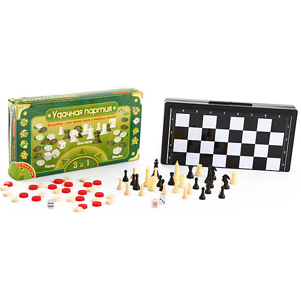 "Набор 3в1 ""Нарды, шашки, шахматы арт"", 25 см, Bondibon"