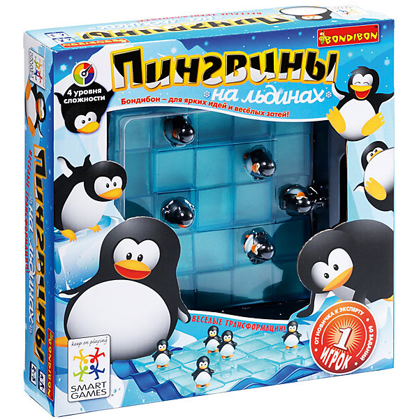 Логическая игра Пингвины на льдинах, BondibonХиты продаж<br>Пингвины на льдинах это необычная, увлекательная и интересная игра, в которой используются детали-пазлы в виде плавучих льдин. Нужно спасти пингвинов, и расположить их фигурки таким образом, чтобы они оказались в безопасности. Перед игроком стоит сразу две задачи: грамотно изменить форму пазла и правильно расположить фигуру.<br><br>Дополнительная информация:<br><br>- Возраст: от 7 лет<br>- В комплекте: игровое поле, 5 фигурок пингвинов, 60 заданий, инструкция<br>- Материал: картон, пластик<br>- Размер упаковки: 23х6х23 см<br>- Вес: 0.62 кг<br><br>Логическую игру Пингвины на льдинах, Bondibon можно купить в нашем интернет-магазине.<br><br>Ширина мм: 238<br>Глубина мм: 60<br>Высота мм: 239<br>Вес г: 627<br>Возраст от месяцев: 84<br>Возраст до месяцев: 1188<br>Пол: Унисекс<br>Возраст: Детский<br>SKU: 4864494