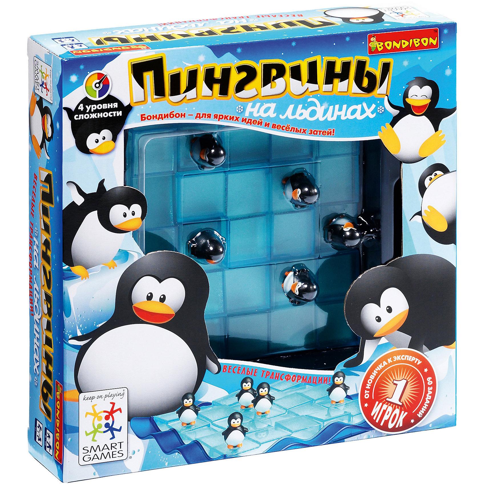 Логическая игра Пингвины на льдинах, BondibonПингвины на льдинах это необычная, увлекательная и интересная игра, в которой используются детали-пазлы в виде плавучих льдин. Нужно спасти пингвинов, и расположить их фигурки таким образом, чтобы они оказались в безопасности. Перед игроком стоит сразу две задачи: грамотно изменить форму пазла и правильно расположить фигуру.<br><br>Дополнительная информация:<br><br>- Возраст: от 7 лет<br>- В комплекте: игровое поле, 5 фигурок пингвинов, 60 заданий, инструкция<br>- Материал: картон, пластик<br>- Размер упаковки: 23х6х23 см<br>- Вес: 0.62 кг<br><br>Логическую игру Пингвины на льдинах, Bondibon можно купить в нашем интернет-магазине.<br><br>Ширина мм: 238<br>Глубина мм: 60<br>Высота мм: 239<br>Вес г: 627<br>Возраст от месяцев: 84<br>Возраст до месяцев: 1188<br>Пол: Унисекс<br>Возраст: Детский<br>SKU: 4864494