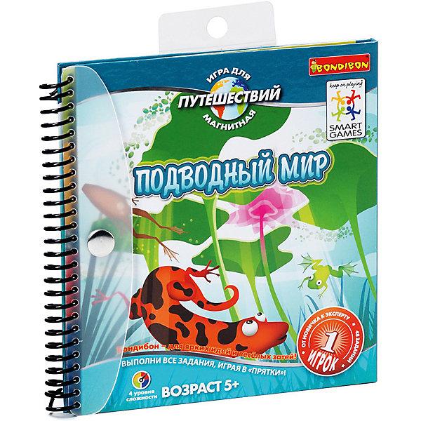 Магнитная игра для путешествий Подводный мир, BondibonИгры в дорогу<br>Настольная игра Подводный мир позволит весело и с пользой провести время в дороге. Задача игры – вытащить карточку и посчитать, сколько на ней изображено животных, а затем расположить детали так, чтобы остались видны только те подводные жители, которые указаны в карте. Игра содержит 48 заданий, сложность которых определяется количеством животных, которых нужно открыть.<br><br>Дополнительная информация:<br><br>- Возраст: от 5 лет<br>- В комплекте: блокнот с магнитной подложкой, 4 магнитные детали, 48 карточек с заданиями<br>- Материал: пластик, магнит, картон<br>- Размер упаковки: 16х1х16 см<br>- Вес: 0.19 кг<br><br>Магнитную игру для путешествий Подводный мир, Bondibon можно купить в нашем интернет-магазине.<br><br>Ширина мм: 162<br>Глубина мм: 15<br>Высота мм: 160<br>Вес г: 198<br>Возраст от месяцев: 60<br>Возраст до месяцев: 1188<br>Пол: Унисекс<br>Возраст: Детский<br>SKU: 4864499