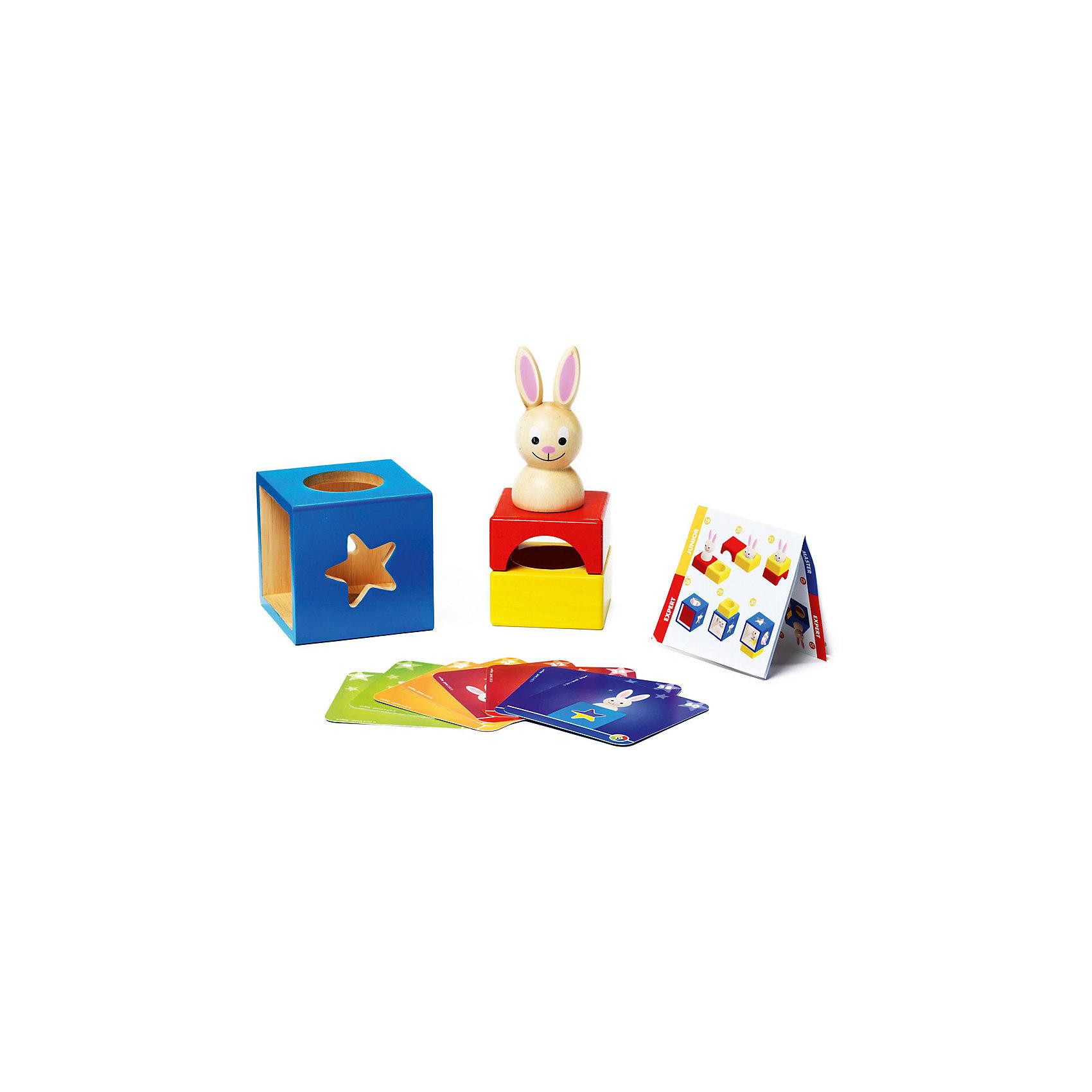 Логическая игра Застенчивый Кролик, BondibonКрасочная игра Застенчивый Кролик предназначена для маленьких детей, она поможет им развить логическое мышление и внимание в увлекательной игровой форме. Игра состоит из интересных заданий в виде карточек, чтобы с ними справиться, нужно расположить фигуры определенным образом. Детали головоломки выполнены в виде ярких деревянных блоков и фигурки кролика.<br><br>Дополнительная информация:<br><br>- Возраст: от 3 лет<br>- В комплекте: фигурка кролика,3 разноцветных блока, 30 двусторонних карточек, инструкция<br>- Материал: пластик, картон, дерево<br>- Размер упаковки: 24х10х24 см<br>- Вес: 0.88 кг<br><br>Логическую игру Застенчивый Кролик, Bondibon можно купить в нашем интернет-магазине.<br><br>Ширина мм: 240<br>Глубина мм: 105<br>Высота мм: 240<br>Вес г: 883<br>Возраст от месяцев: 24<br>Возраст до месяцев: 60<br>Пол: Унисекс<br>Возраст: Детский<br>SKU: 4864506