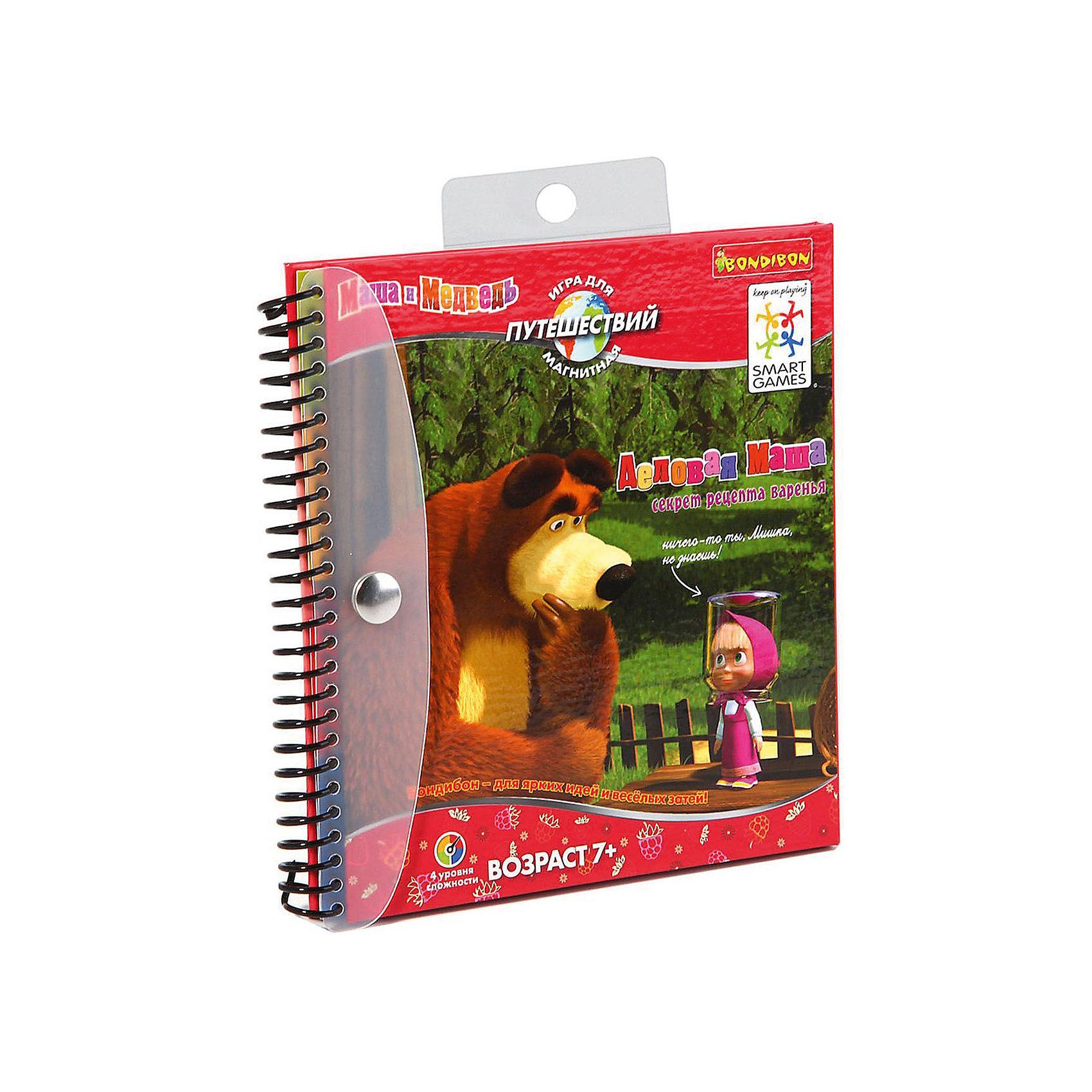 Магнитная логическая игра для путешествий Маша и Медведь, BondibonГоловоломки<br>Магнитная игра Маша и Медведь развлечет Вашего ребенка во время длительного путешествия. Нужно помочь Маше собрать определенные ягоды в корзинку, чтобы она сварила вкусное варенье для Мишки, а ненужные ягоды надо закрывать магнитами. Игра имеет буклет с заданиями различной сложности. Благодаря компактности ее удобно брать с собой во время поездки.<br><br>Дополнительная информация:<br><br>- Возраст: от 5 лет<br>- В комплекте: блокнот с магнитной подложкой, 4 магнитные детали, 48 карточек с заданиями<br>- Материал: пластик, магнит, картон<br>- Размер упаковки: 16х1х16 см<br>- Вес: 0.19 кг<br><br>Магнитную логическую игру для путешествий Маша и Медведь, Bondibon можно купить в нашем интернет-магазине.<br><br>Ширина мм: 162<br>Глубина мм: 15<br>Высота мм: 160<br>Вес г: 198<br>Возраст от месяцев: 84<br>Возраст до месяцев: 1188<br>Пол: Унисекс<br>Возраст: Детский<br>SKU: 4864514
