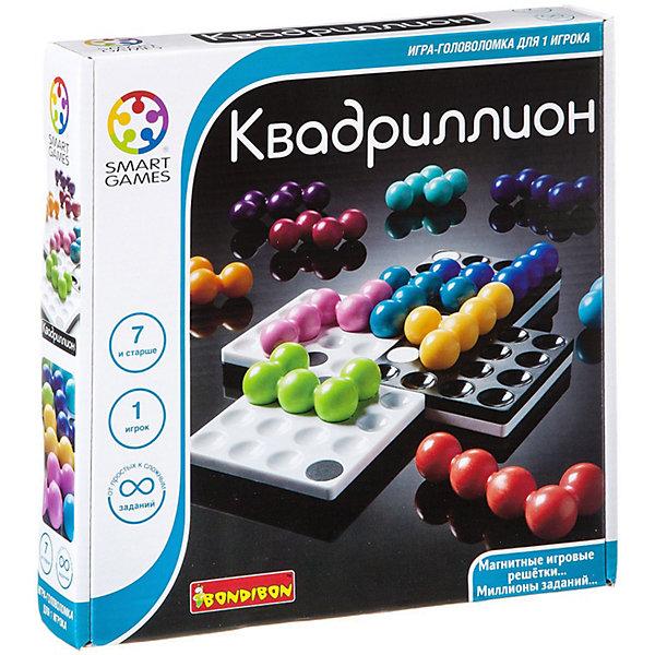Логическая игра Квадриллион., BondibonСтратегические настольные игры<br>Эта прекрасная игра не даст заскучать Вашему малышу, с помощью нее можно привить такие важные качества как внимательность и усидчивость. В начале игры нужно создать игровое поле, которое складывается при помощи 4 магнитных решеток. Затем следует расположить фигурки таким образом, чтобы они покрыли все игровое поле, но при этом не закрывали черные и белые точки. Игра Квадриллион станет отличным подарком для детей, которые любят логические игры.<br><br>Дополнительная информация:<br><br>- Возраст: от 7 лет<br>- В комплекте: 4 магнитных поля, 12 разноцветных деталей, инструкция<br>- Материал: пластик, магнит<br>- Размер упаковки: 24х4х24 см<br>- Вес: 0.65 кг<br><br>Логическую игру Квадриллион., Bondibon можно купить в нашем интернет-магазине.<br><br>Ширина мм: 240<br>Глубина мм: 47<br>Высота мм: 240<br>Вес г: 658<br>Возраст от месяцев: 84<br>Возраст до месяцев: 1188<br>Пол: Унисекс<br>Возраст: Детский<br>SKU: 4864516