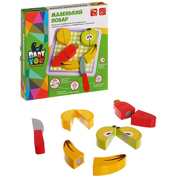 Игровой набор из дерева Маленький Повар, BondibonИгрушечные продукты питания<br>Маленький Повар это игровой набор, выполненный в виде различных фруктов и овощей. В комплект так же входит безопасный нож и разделочная доска. Все детали выполнены из натурального дерева и полностью безопасны для здоровья ребенка. <br><br>Дополнительная информация:<br><br>- Возраст: от 12 месяцев<br>- В комплекте: деревянные фигурки в виде продуктов, деревянный нож, разделочная доска<br>- Материал: дерево<br>- Размер упаковки: 20х4х20 см<br>- Вес: 0.2 кг<br><br>Игровой набор из дерева Маленький Повар, Bondibon можно купить в нашем интернет-магазине.<br><br>Ширина мм: 200<br>Глубина мм: 40<br>Высота мм: 200<br>Вес г: 242<br>Возраст от месяцев: 180<br>Возраст до месяцев: 36<br>Пол: Унисекс<br>Возраст: Детский<br>SKU: 4864519