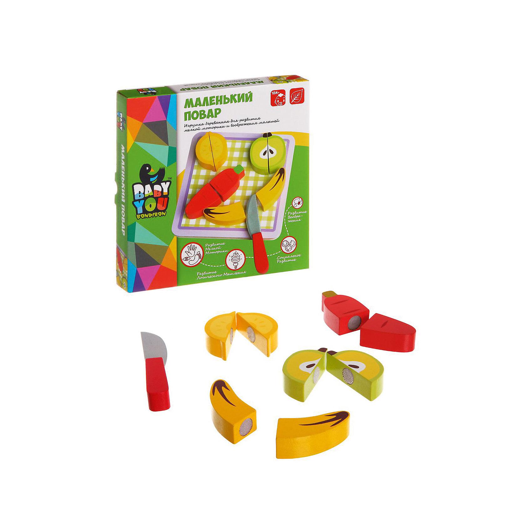 Игровой набор из дерева Маленький Повар, BondibonИгрушки для малышей<br>Маленький Повар это игровой набор, выполненный в виде различных фруктов и овощей. В комплект так же входит безопасный нож и разделочная доска. Все детали выполнены из натурального дерева и полностью безопасны для здоровья ребенка. <br><br>Дополнительная информация:<br><br>- Возраст: от 12 месяцев<br>- В комплекте: деревянные фигурки в виде продуктов, деревянный нож, разделочная доска<br>- Материал: дерево<br>- Размер упаковки: 20х4х20 см<br>- Вес: 0.2 кг<br><br>Игровой набор из дерева Маленький Повар, Bondibon можно купить в нашем интернет-магазине.<br><br>Ширина мм: 200<br>Глубина мм: 40<br>Высота мм: 200<br>Вес г: 242<br>Возраст от месяцев: 180<br>Возраст до месяцев: 36<br>Пол: Унисекс<br>Возраст: Детский<br>SKU: 4864519