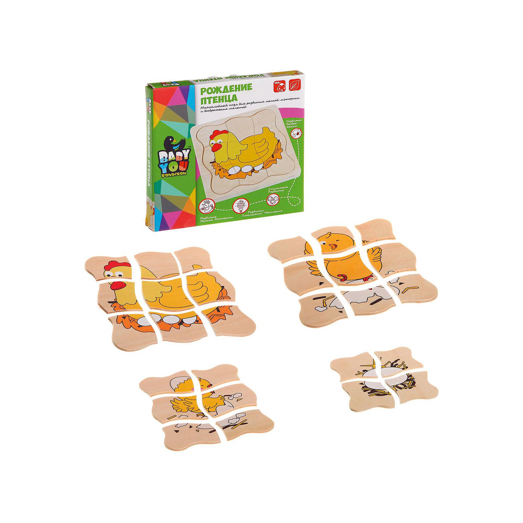 Bondibon Игровой набор из дерева Рождение птенца, Bondibon