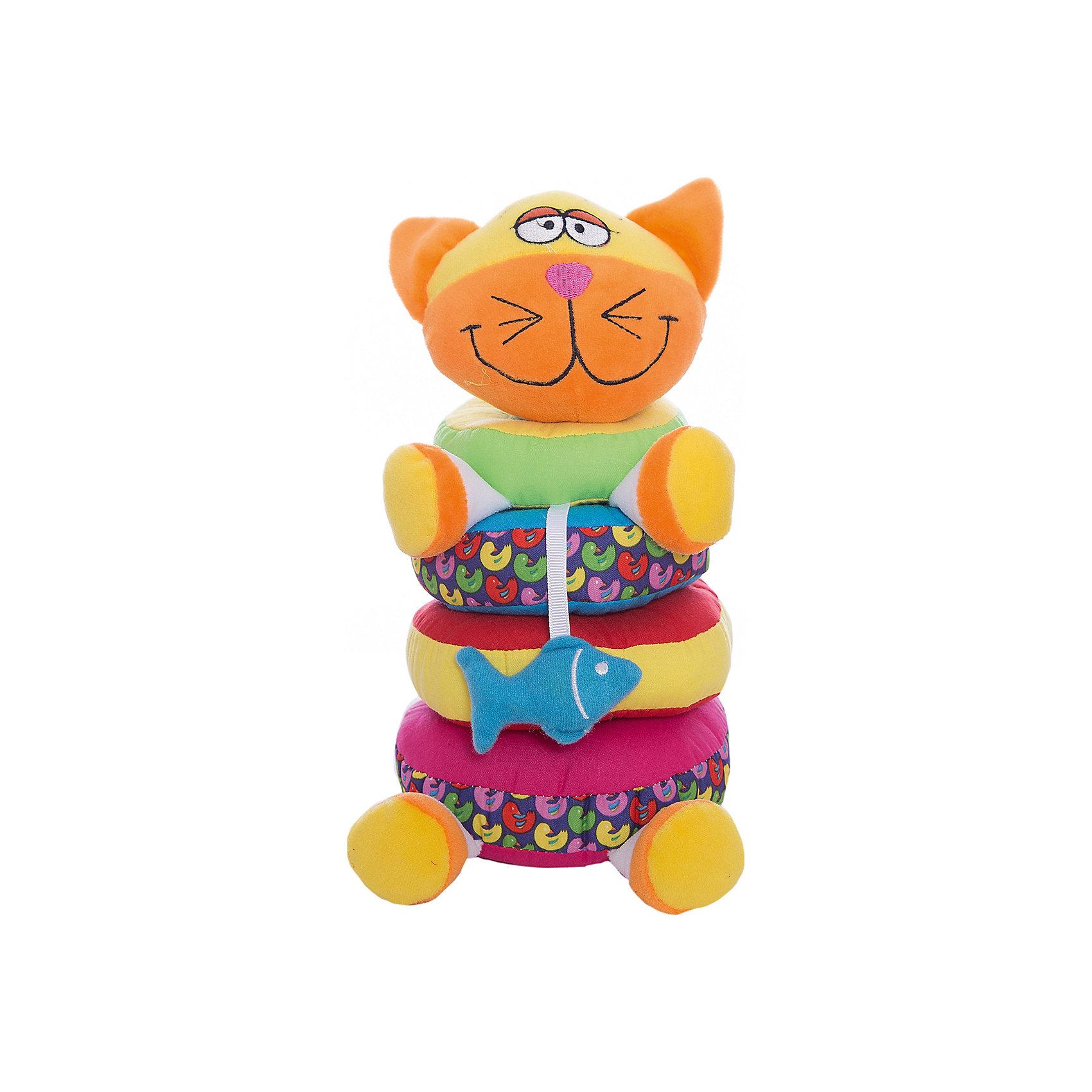 Мягкая пирамидка Кот, 20 см, BondibonПирамидки<br>Этот мягкий кот сразу заинтересует малыша, ведь его можно разбирать на колечки и снова собирать. Разноцветные кольца образуют красивую мягкую пирамидку, с которой можно играть целыми часами. Игрушки из мягкого текстиля, помогают развивать тактильные ощущения, и различать формы предметов.<br><br>Дополнительная информация:<br><br>- Возраст: от 12 месяцев<br>- В комплекте: фигурка котика, четыре кольца<br>- Материал: плюш, текстиль.<br>- Размер упаковки: 15х13х21 см<br>- Вес: 0.22 кг<br><br>Мягкую пирамидку Кот, 20 см, Bondibon можно купить в нашем интернет-магазине.<br><br>Ширина мм: 150<br>Глубина мм: 130<br>Высота мм: 210<br>Вес г: 225<br>Возраст от месяцев: 3<br>Возраст до месяцев: 18<br>Пол: Унисекс<br>Возраст: Детский<br>SKU: 4864526