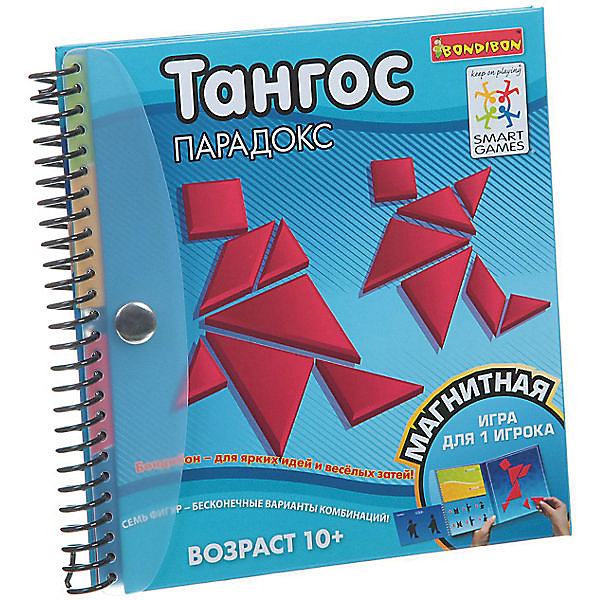 Магнитная игра для путешествий Тангос парадокс, BondibonИгры в дорогу<br>Игра Тангос поможет развлечь малыша во время длительного путешествия. Эта интересная головоломка состоит в том, чтобы сложить из геометрических фигур такую же картинку, как указано в задании. Для удобства все детали имеют магнитную основу и легко крепятся к игровому полю.<br><br>Дополнительная информация:<br><br>- Возраст: от 10 лет<br>- В комплекте: блокнот-доска, геометрические фигуры, 24 карточки с заданиями<br>- Материал: пластик, магнит, картон<br>- Размер упаковки: 16х1х16 см<br>- Вес: 0.22 кг<br><br>Магнитную игру для путешествий Тангос парадокс, Bondibon можно купить в нашем интернет-магазине.<br>Ширина мм: 162; Глубина мм: 15; Высота мм: 160; Вес г: 225; Возраст от месяцев: 120; Возраст до месяцев: 1188; Пол: Унисекс; Возраст: Детский; SKU: 4864527;