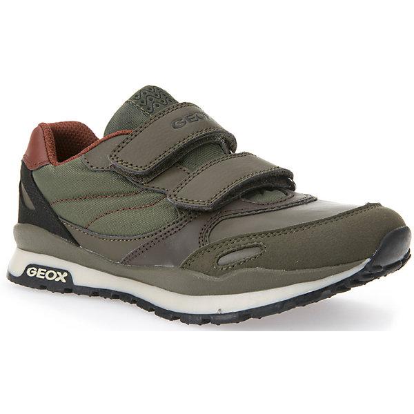 Кроссовки для мальчика GEOXКроссовки<br>Кроссовки GEOX (ГЕОКС)<br>Кроссовки от GEOX (ГЕОКС) выполнены из искусственной кожи, внутренняя отделка из текстиля, съемная стелька из натуральной кожи.  Застежки-липучки надежно фиксируют обувь на ногах, облегчая снятие и надевание. Колодка соответствует анатомическим особенностям строения стопы. Качественная амортизация снижает нагрузку на суставы. Запатентованная гибкая перфорированная подошва со специальной микропористой мембраной обеспечивает естественное дыхание обуви,  не пропускает воду.<br><br>Дополнительная информация:<br><br>- Сезон:демисезонная;<br>- Цвет: хаки;<br>- Материал верха: искусственная кожа<br>- Внутренний материал: текстиль<br>- Материал стельки: натуральная кожа;<br>- Материал подошвы резина;<br>- Тип застежки: липучки;<br>- Материалы и продукция прошли сертификацию T?V S?D, на отсутствие веществ, опасных для здоровья покупателей.<br><br>Кроссовки GEOX (ГЕОКС) можно купить в нашем интернет-магазине.<br><br>Ширина мм: 250<br>Глубина мм: 150<br>Высота мм: 150<br>Вес г: 250<br>Цвет: серый<br>Возраст от месяцев: 132<br>Возраст до месяцев: 144<br>Пол: Мужской<br>Возраст: Детский<br>Размер: 28,32,30,36,37,27,38,34,31,35,33,29<br>SKU: 4864839