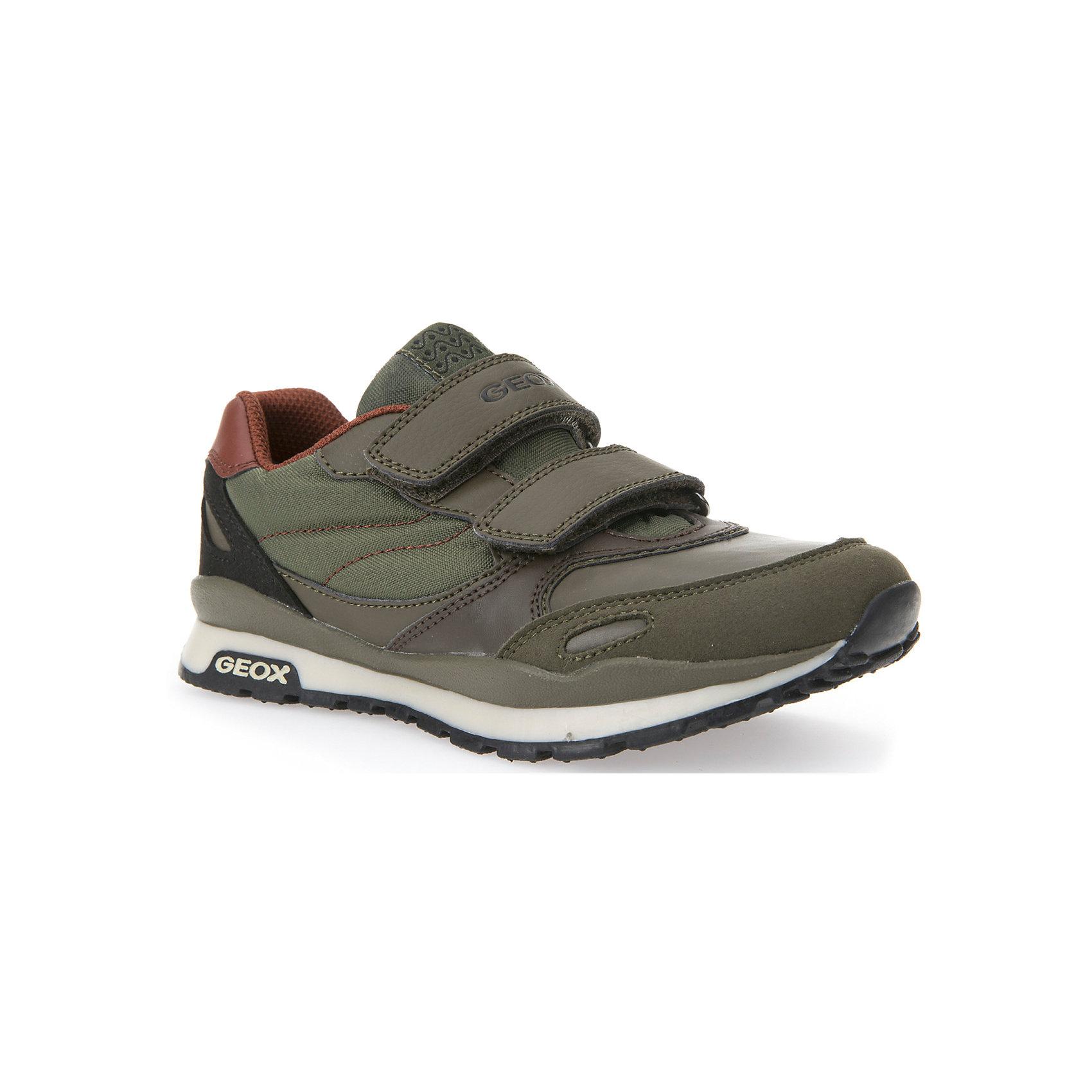 Кроссовки для мальчика GEOXКроссовки GEOX (ГЕОКС)<br>Кроссовки от GEOX (ГЕОКС) выполнены из искусственной кожи, внутренняя отделка из текстиля, съемная стелька из натуральной кожи.  Застежки-липучки надежно фиксируют обувь на ногах, облегчая снятие и надевание. Колодка соответствует анатомическим особенностям строения стопы. Качественная амортизация снижает нагрузку на суставы. Запатентованная гибкая перфорированная подошва со специальной микропористой мембраной обеспечивает естественное дыхание обуви,  не пропускает воду.<br><br>Дополнительная информация:<br><br>- Сезон:демисезонная;<br>- Цвет: хаки;<br>- Материал верха: искусственная кожа<br>- Внутренний материал: текстиль<br>- Материал стельки: натуральная кожа;<br>- Материал подошвы резина;<br>- Тип застежки: липучки;<br>- Материалы и продукция прошли сертификацию T?V S?D, на отсутствие веществ, опасных для здоровья покупателей.<br><br>Кроссовки GEOX (ГЕОКС) можно купить в нашем интернет-магазине.<br><br>Ширина мм: 250<br>Глубина мм: 150<br>Высота мм: 150<br>Вес г: 250<br>Цвет: серый<br>Возраст от месяцев: 60<br>Возраст до месяцев: 72<br>Пол: Мужской<br>Возраст: Детский<br>Размер: 29,36,37,27,38,35,34,28,32,30,33,31<br>SKU: 4864839