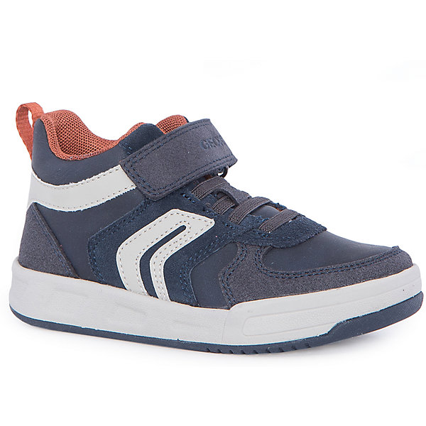 Ботинки для мальчика GeoxБотинки<br>Ботинки для мальчика от знаменитого итальянского бренда взрослой и детской одежды и обуви GEOX (Геокс). Приятные Ботинки темно-синего цвета в совмещении с деталями кирпичного и белого цветов придут по вкусу вашему моднику. Разработанная технология подошвы кроссовок не позволяет им скользить, амортизирует шаги, не пропускает воду и позволяет стопе дышать. Эргономичная антибактериальная стелька и высокий задник хорошо фиксируют голеностоп и удобны в носке. Ботинки с плоской подошвой отлично подойдут на сезон осень-весна. Застегиваются на липучку, что позволит ребенку быстро надевать и снимать Ботинки и не беспокоиться о шнурках.<br><br>Дополнительная информация:<br>- Температурный режим: от +10° С до 25° С.<br>- Состав:<br>верх: текстиль, синтетика<br>подкладка: текстиль<br>стелька: натуральная кожа<br>подошва: резина<br>Ботинки для мальчика GEOX (Геокс) можно купить в нашем магазине.<br>Подробнее:<br>• Для детей в возрасте: от 4 до 13 лет<br>• Номер товара: 4864960<br>Страна производитель: Камбоджа<br><br>Ширина мм: 250<br>Глубина мм: 150<br>Высота мм: 150<br>Вес г: 250<br>Цвет: синий<br>Возраст от месяцев: 96<br>Возраст до месяцев: 108<br>Пол: Мужской<br>Возраст: Детский<br>Размер: 32,30,37,38,34,28,27,36,31,35,29,33<br>SKU: 4864960