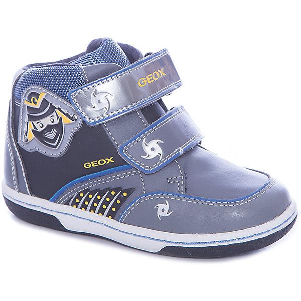 Ботинки для мальчика GeoxБотинки<br>Ботинки для мальчика от знаменитого итальянского бренда взрослой и детской одежды и обуви GEOX (Геокс). Прогулки станут еще веселее! Ботинки представлены в сером цвете в совмещении с серебристыми, синими и желтыми деталями, на них имеются нашитые озорные ниндзи и рисунки сюрикэнов. Разработанная технология подошвы кроссовок не позволяет им скользить, амортизирует шаги, не пропускает воду и позволяет стопе дышать. Мягкая подошва отлично гнется, обеспечивая безопасность шагов малыша, поддерживая стопу, позволяя стоять более уверенно и оставляя свободу движения. Эргономичная антибактериальная стелька и высокий задник хорошо фиксируют голеностоп и удобны в носке. Внутренний материал позволяют легко надевать и снимать Ботинки, застегивая на две практичные липучки. Ботинки сохраняют тепло маленьких ножек и оставляют их сухими, позволяя им дышать. <br>Дополнительная информация:<br>- Состав:<br>верх:  80% синтетика, 20% текстиль<br>подкладка: текстиль<br>стелька: натуральная кожа <br>подошва: резина<br>Ботинки для мальчика GEOX (Геокс) можно купить в нашем магазине.<br>Подробнее:<br>• Для детей в возрасте: от 12 месяцев до 4 лет<br>• Номер товара: 4865018<br>Страна производитель: Индонезия<br><br>Ширина мм: 250<br>Глубина мм: 150<br>Высота мм: 150<br>Вес г: 250<br>Цвет: серый<br>Возраст от месяцев: 24<br>Возраст до месяцев: 36<br>Пол: Мужской<br>Возраст: Детский<br>Размер: 24,27,25,26,23<br>SKU: 4865018