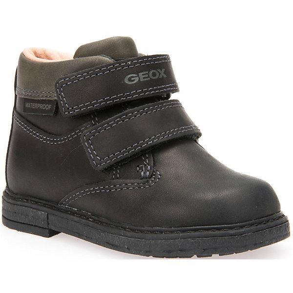 Ботинки для мальчика GEOXОбувь для малышей<br>Стильные ботинки для мальчика от знаменитого итальянского бренда взрослой и детской одежды и обуви GEOX (Геокс). Осенние дни станут еще веселее! Ботинки представлены в классическом черном цвете, который отлично подходит к дизайну полусапожек. Разработанная технология подошвы полусапожек не позволяет им скользить, амортизирует шаги, не пропускает воду и позволяет стопе дышать. Мягкая подошва отлично гнется, обеспечивая безопасность шагов, поддерживая стопу, позволяя стоять более уверенно и оставляя свободу движения. Эргономичная антибактериальная стелька и высокий задник хорошо фиксируют голеностоп и удобны в носке. Внутренний гладкий материал позволяет легко их надевать и снимать благодаря практичным липучкам. Ботинки сохраняют тепло маленьких ножек и оставляет их сухими, позволяя им дышать. <br>Дополнительная информация:<br>- Состав:<br>верх:  натуральна кожа<br>подкладка: текстиль<br>стелька: текстиль<br>подошва: резина<br>Ботинки для мальчика GEOX (Геокс) (Геокс) можно купить в нашем магазине.<br>Подробнее:<br>• Для детей в возрасте: от 3 до 8 лет<br>• Номер товара: 4865048<br>Страна производитель: Вьетнам<br><br>Ширина мм: 257<br>Глубина мм: 180<br>Высота мм: 130<br>Вес г: 420<br>Цвет: черный<br>Возраст от месяцев: 21<br>Возраст до месяцев: 24<br>Пол: Мужской<br>Возраст: Детский<br>Размер: 24,23,25,26,27<br>SKU: 4865048