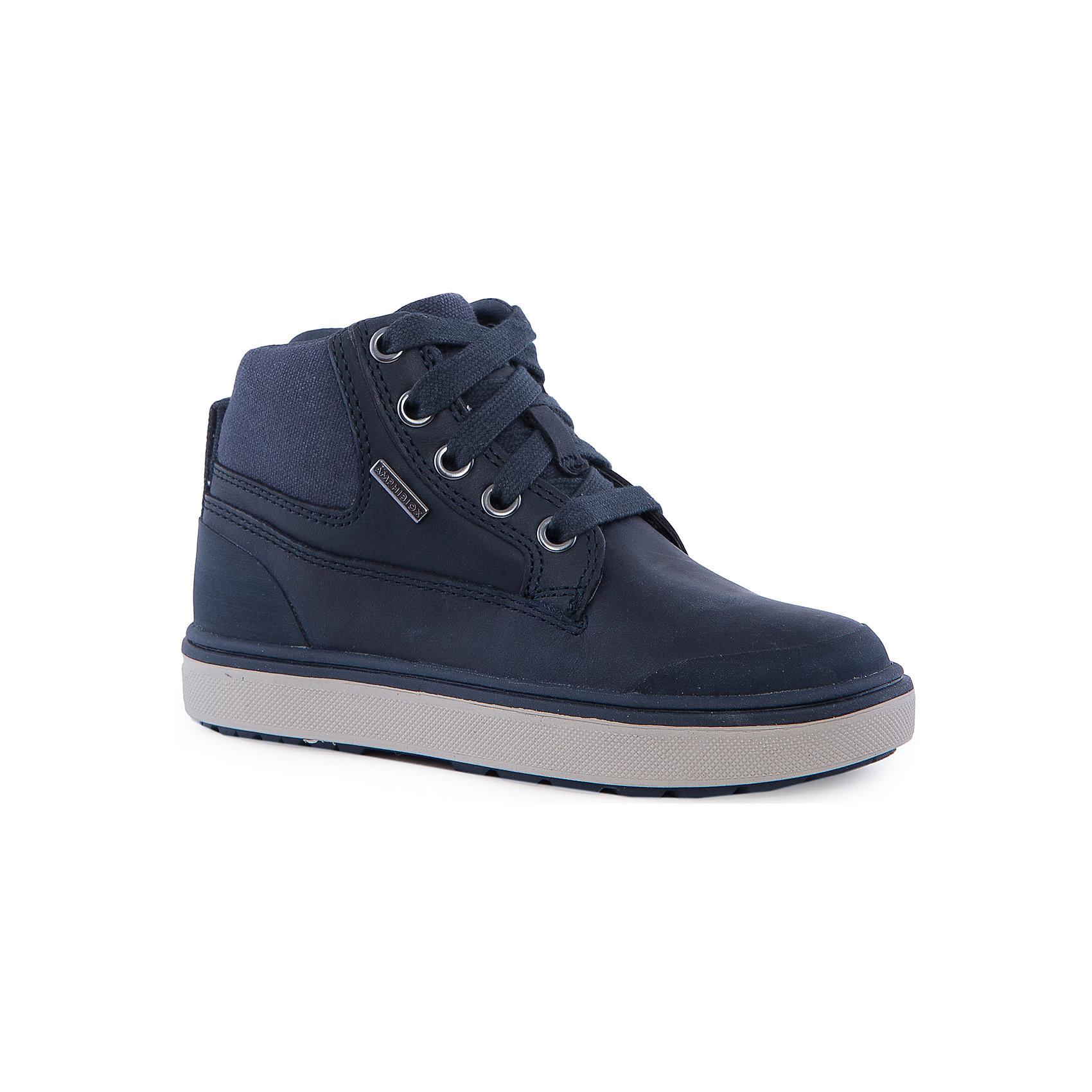 Ботинки для мальчика GEOXБотинки для мальчика GEOX (ГЕОКС)<br>Ботинки для мальчика от GEOX (ГЕОКС) выполнены из натуральной кожи. Модель имеет теплую подкладку и войлочную стельку с изоляционным алюминиевым слоем, что улучшается тепловое сопротивление в холодных условиях, повышая температуру внутри обуви. Влага не застаивается в обуви, благодаря чему создается идеальный микроклимат, который держит ноги теплыми и сухими, и позволяет им дышать естественно. Тип застежки шнуровка, также модель застёгивается на удобную боковую молнию, которая фиксируется небольшой липучкой. Колодка соответствует анатомическим особенностям строения детской стопы. Качественная амортизация снижает нагрузку на суставы. Легкая подошва из ЭВА с микропористой мембраной обеспечивает естественное дыхание обуви, не пропускает воду.<br><br>Дополнительная информация:<br><br>- Сезон: демисезон<br>- Цвет: синий<br>- Состав: натуральная кожа 60%, синтетический материал 40%<br>- Материал верха: натуральная кожа<br>- Внутренний материал: текстиль<br>- Материал стельки: текстиль<br>- Материал подошвы: резина<br>- Тип подошвы: рифленая<br>- Вид застежки: шнуровка, молния<br>- Высота задника: 7 см.<br>- Материалы и продукция прошли специальную проверку T?V S?D, на отсутствие веществ, опасных для здоровья покупателей<br><br>Ботинки для мальчика GEOX (ГЕОКС) можно купить в нашем интернет-магазине.<br><br>Ширина мм: 257<br>Глубина мм: 180<br>Высота мм: 130<br>Вес г: 420<br>Цвет: синий<br>Возраст от месяцев: 96<br>Возраст до месяцев: 108<br>Пол: Мужской<br>Возраст: Детский<br>Размер: 32,29,28,36,35,38,31,33,37,34,30<br>SKU: 4865094
