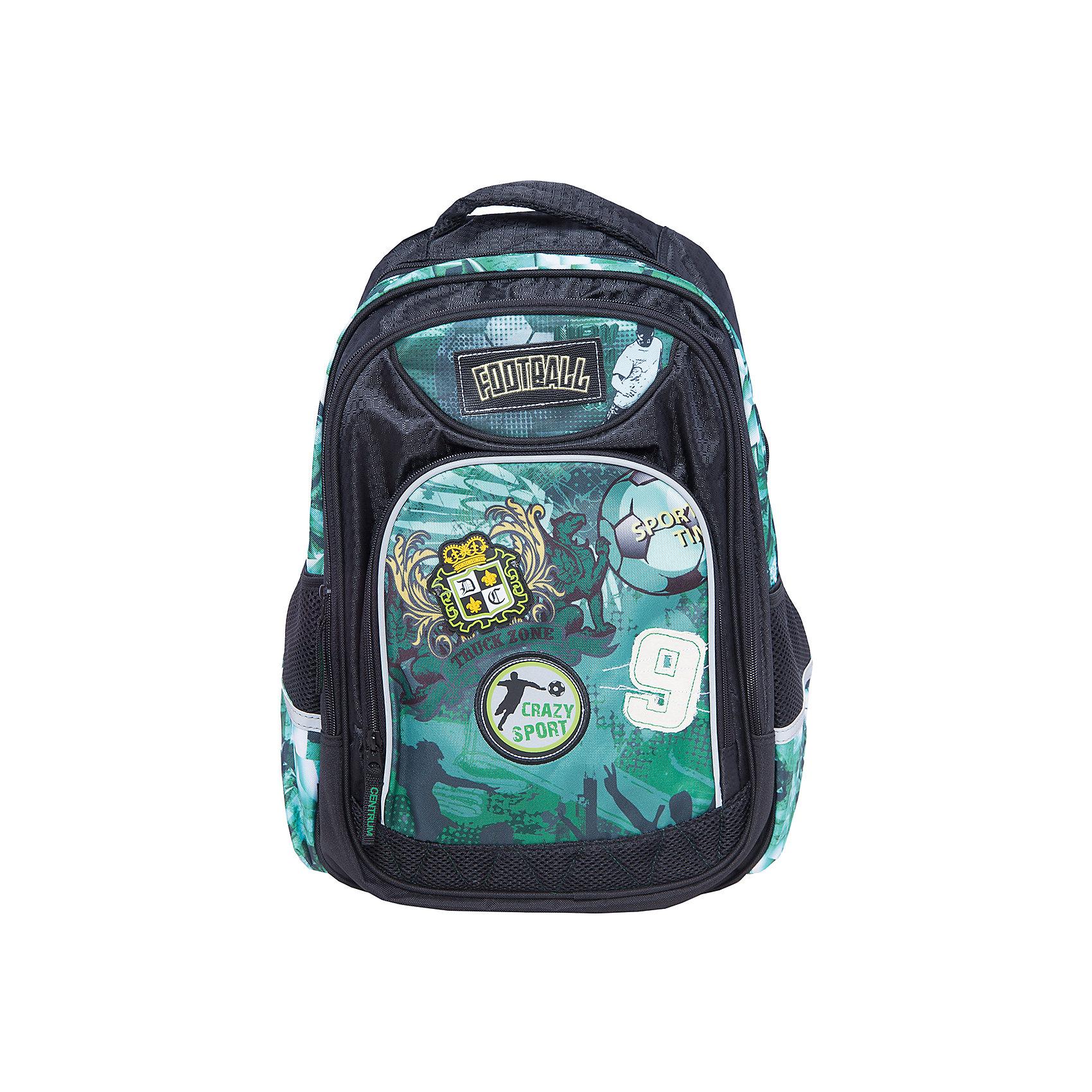 Школьный рюкзакРюкзаки<br>Школьный рюкзак, CENTRUM (Центрум) ? рюкзак отечественного бренда детской серии. Рюкзаки этой серии выполнены из непромокаемого и прочного полиэстера высокого качества, отличаются легким весом. <br>Внутреннее устройство рюкзака состоит из одного вместительного отсека. По бокам рюкзака имеются два сетчатых кармана. На передней стенке два объемных кармана на молнии. Эргономичность рюкзака обеспечивается плотной спинкой и широкими регулируемыми лямками. Для удобства переноса рюкзака в руках имеется  ручка-петля. <br>Рюкзак выполнен в ярком спортивном дизайне: на передней стенке имеется принт с футбольной тематикой .<br>Школьный рюкзак, CENTRUM (Центрум) ? это многофункциональность, качество и удобство использования. <br><br>Дополнительная информация:<br><br>- Вес: 525 г<br>- Габариты (Д*Г*В): 19*31*42 см<br>- Цвет: черный, оттенки зеленого<br>- Материал: полиэстер<br>- Сезон: круглый год<br>- Коллекция: детская<br>- Пол: мужской<br>- Предназначение: для школы, для занятий спортом, для путешествий <br>- Особенности ухода: можно чистить влажной щеткой или губкой<br><br>Подробнее:<br><br>• Для детей в возрасте: от 3 лет и до 10 лет<br>• Страна производитель: Китай<br>• Торговый бренд: CENTRUM<br><br>Школьный рюкзак, CENTRUM (Центрум) можно купить в нашем интернет-магазине.<br><br>Ширина мм: 190<br>Глубина мм: 310<br>Высота мм: 420<br>Вес г: 570<br>Возраст от месяцев: 36<br>Возраст до месяцев: 120<br>Пол: Мужской<br>Возраст: Детский<br>SKU: 4865227