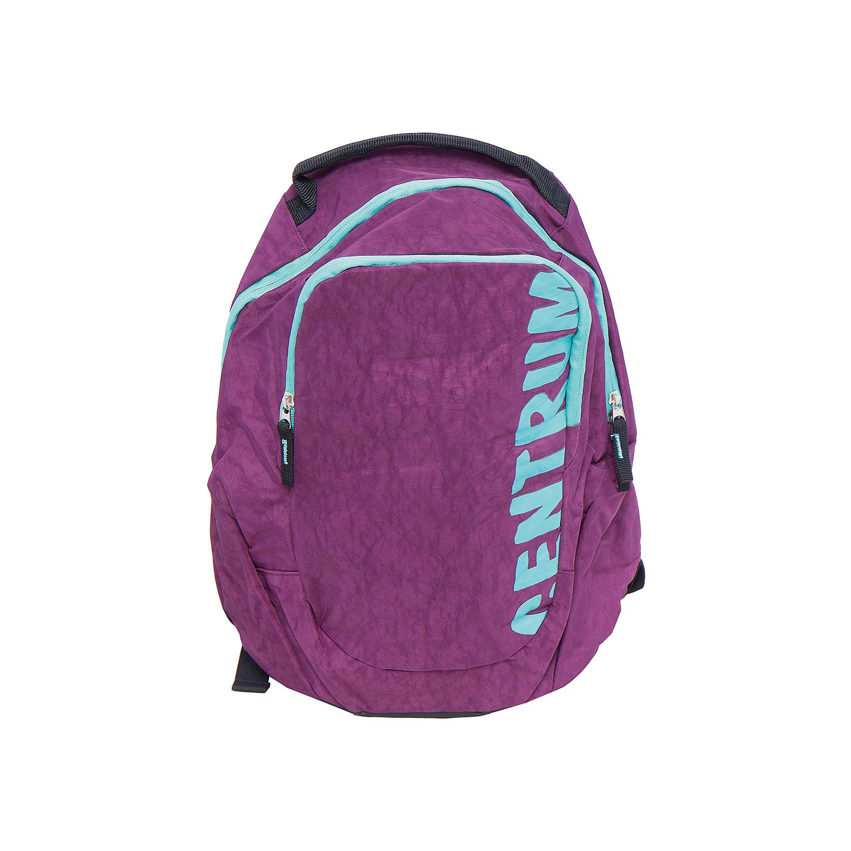 Спортивный рюкзакРюкзаки<br>Спортивный рюкзак, CENTRUM (Центрум) ? рюкзак отечественного бренда молодежной серии. Рюкзаки этой серии выполнены из непромокаемого и прочного нейлона высокого качества, отличаются легким весом. <br>Внутреннее устройство рюкзака состоит из одного вместительного отсека. На передней стенке внешний карман на молнии. Эргономичность рюкзака обеспечивается широкими регулируемыми лямками. Для удобства переноса рюкзака в руках имеется  ручка-петля. <br>Рюкзак выполнен в сливовом цвете, на передней стенке имеется брендовая надпись бирюзового цвета.<br>Спортивный рюкзак, CENTRUM (Центрум) ? это многофункциональность, качество и удобство использования. <br><br>Дополнительная информация:<br><br>- Вес: 740 г<br>- Габариты (Д*Г*В): 18,5*36*42 см<br>- Цвет: сливовый, бирюзовый<br>- Материал: нейлон<br>- Сезон: круглый год<br>- Коллекция: молодежная<br>- Пол: женский<br>- Предназначение: для школы, для занятий спортом, для путешествий <br>- Особенности ухода: можно чистить влажной щеткой или губкой<br><br>Подробнее:<br><br>• Для детей в возрасте: от 12 лет <br>• Страна производитель: Китай<br>• Торговый бренд: CENTRUM<br><br>Спортивный рюкзак, CENTRUM (Центрум) можно купить в нашем интернет-магазине.<br><br>Ширина мм: 185<br>Глубина мм: 360<br>Высота мм: 420<br>Вес г: 490<br>Возраст от месяцев: 36<br>Возраст до месяцев: 120<br>Пол: Женский<br>Возраст: Детский<br>SKU: 4865231
