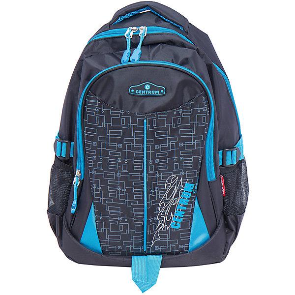 Спортивный рюкзакДетские рюкзаки<br>Спортивный рюкзак, CENTRUM (Центрум) ? рюкзак отечественного бренда молодежной серии. Рюкзаки этой серии выполнены из непромокаемого и прочного нейлона высокого качества, отличаются легким весом. <br>Внутреннее устройство рюкзака состоит из двух вместительных отсеков, в которых имеются карманы для телефона и мелочей. По бокам – сетчатые карманы. Эргономичность рюкзака обеспечивается уплотненной спинкой и широкими регулируемыми лямками. Для удобства переноса рюкзака в руках имеется  мягкая ручка, дополнительно рюкзак оснащен ручкой-петлей. <br>Рюкзак выполнен в черном цвете,с синей окантовкой, на передней стенке имеется графический принт.<br>Спортивный рюкзак, CENTRUM (Центрум) ? это многофункциональность, качество и удобство использования. <br><br>Дополнительная информация:<br><br>- Вес: 600 г<br>- Габариты (Д*Г*В): 14*33*45 см<br>- Цвет: черный, синий<br>- Материал: нейлон<br>- Сезон: круглый год<br>- Коллекция: молодежная<br>- Пол: мужской<br>- Предназначение: для школы, для занятий спортом, для путешествий <br>- Особенности ухода: можно чистить влажной щеткой или губкой<br><br>Подробнее:<br><br>• Для детей в возрасте: от 12 лет <br>• Страна производитель: Китай<br>• Торговый бренд: CENTRUM<br><br>Спортивный рюкзак, CENTRUM (Центрум) можно купить в нашем интернет-магазине.<br>Ширина мм: 140; Глубина мм: 330; Высота мм: 450; Вес г: 600; Возраст от месяцев: 36; Возраст до месяцев: 120; Пол: Женский; Возраст: Детский; SKU: 4865232;