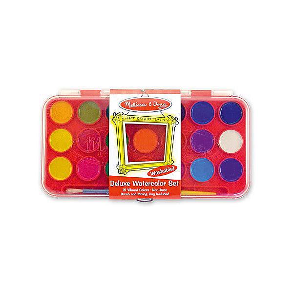 Набор акварельных красок Делюкс, 21 цвет, Melissa &amp; DougКраски и кисточки<br>Набор позволит ребенку полностью проявить свою фантазию и нарисовать множество рисунков разноцветными красками из комплекта. А для того, чтобы Ваш малыш больше погрузился в мир картин, в наборе большая политра ярких акварельных красок.<br><br>Дополнительная информация:<br><br>- Возраст: от 3 лет.<br>- В набор входит: кисточка и краски 12 цветов.<br>- Материал: пластик.<br>- Размер упаковки: 15х1х12 см.<br><br>Купить набор акварельных красок можно в нашем магазине.<br>Ширина мм: 250; Глубина мм: 20; Высота мм: 130; Вес г: 250; Возраст от месяцев: 36; Возраст до месяцев: 120; Пол: Унисекс; Возраст: Детский; SKU: 4865270;