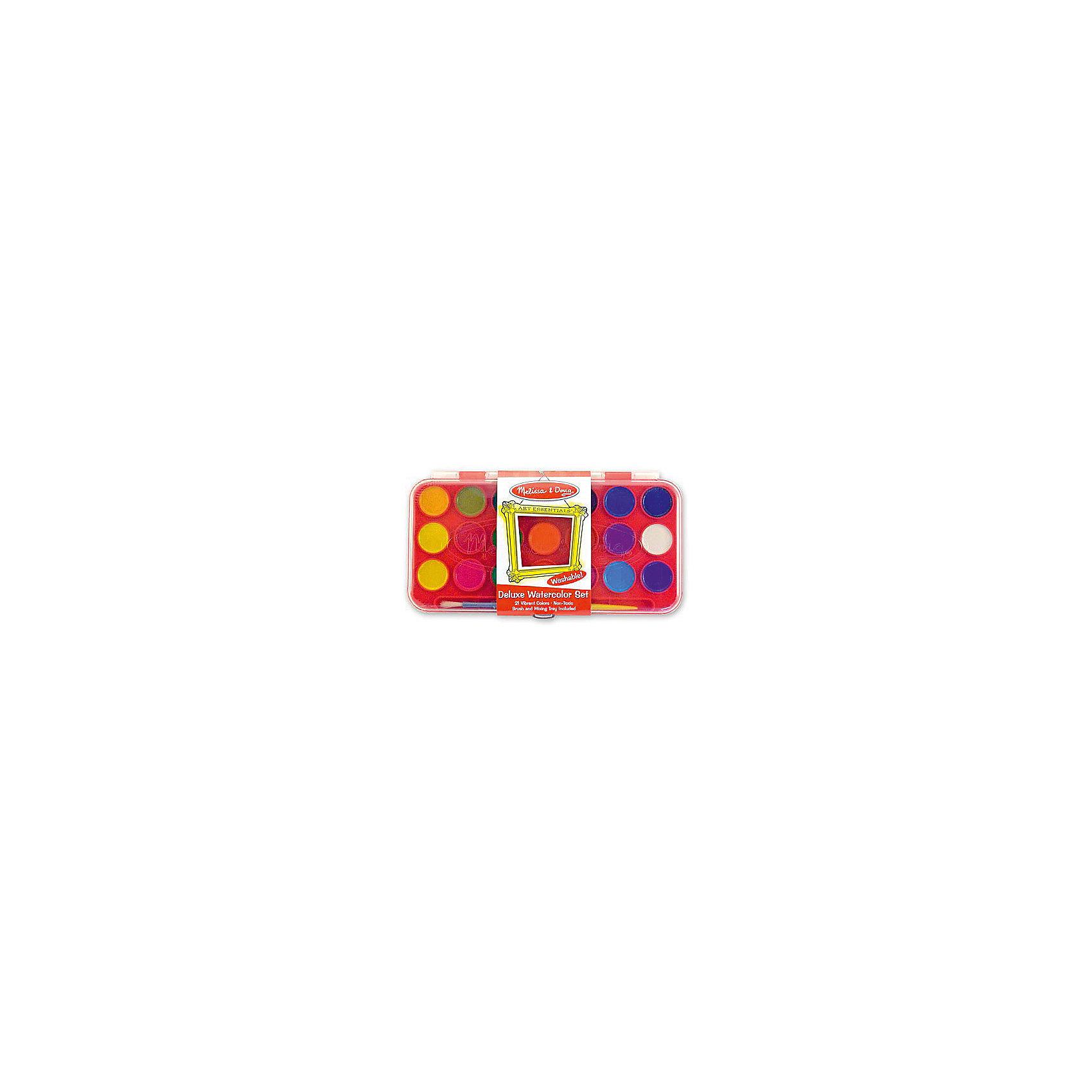 Набор акварельных красок Делюкс, 21 цвет, Melissa &amp; DougРисование<br>Набор позволит ребенку полностью проявить свою фантазию и нарисовать множество рисунков разноцветными красками из комплекта. А для того, чтобы Ваш малыш больше погрузился в мир картин, в наборе большая политра ярких акварельных красок.<br><br>Дополнительная информация:<br><br>- Возраст: от 3 лет.<br>- В набор входит: кисточка и краски 12 цветов.<br>- Материал: пластик.<br>- Размер упаковки: 15х1х12 см.<br><br>Купить набор акварельных красок можно в нашем магазине.<br><br>Ширина мм: 250<br>Глубина мм: 20<br>Высота мм: 130<br>Вес г: 250<br>Возраст от месяцев: 36<br>Возраст до месяцев: 120<br>Пол: Унисекс<br>Возраст: Детский<br>SKU: 4865270