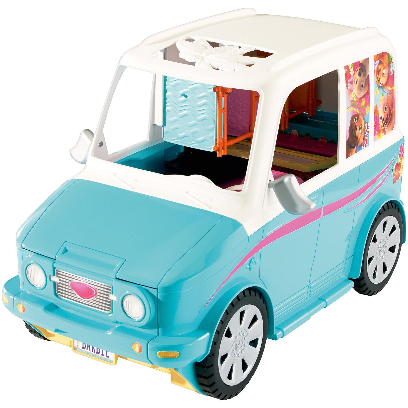 Раскладной фургон для щенков, BarbieПопулярные игрушки<br>Раскладной фургон для щенков, Barbie - чудесный игровой набор, который вызовет восторг у Вашей девочки, поклонницы кукол Barbie.<br>Раскладной фургон для щенков - игрушка по мультфильму «Барби и ее сестры в поисках сокровищ». Верные друзья длинноногой красавицы, 4 очаровательных щенка отправляются в путешествие! Вместительный фургон, на котором они передвигаются, раскладывается и оснащен всем необходимым, чтобы хорошенько отдохнуть в дороге и, конечно, повеселиться. Он с легкостью вмещает куклу Барби, ее сестру (приобретаются отдельно) и 4 щенков. У машины раздвигаются боковые стенки, и откидывается крыша, и фургон превращается в идеальную площадку для игры c зоной для отдыха, смузи-баром в стиле «Тики» (напитки для всех сестер), телевизором, подстилками для щенков. Когда один щенок съезжает на площадку, другой может спуститься на «лифте» по забавной пальме! Для того, чтобы щенки выспались и отдохнули, предусмотрены 4 лежанки, расположенные друг над другом. В комплект также входят различные аксессуары - миски, стаканчики с напитками и другие.<br><br>Дополнительная информация:<br><br>- В наборе: транспорт-трансформер, 4 щенка, тематические аксессуары<br>- Куклы продаются отдельно<br>- Материал: пластик<br>- Размер упаковки: 19х39,5х25 см.<br>- Вес: 2,281 кг.<br><br>Раскладной фургон для щенков, Barbie можно купить в нашем интернет-магазине.<br><br>Ширина мм: 190<br>Глубина мм: 395<br>Высота мм: 250<br>Вес г: 2281<br>Возраст от месяцев: 36<br>Возраст до месяцев: 120<br>Пол: Женский<br>Возраст: Детский<br>SKU: 4865286